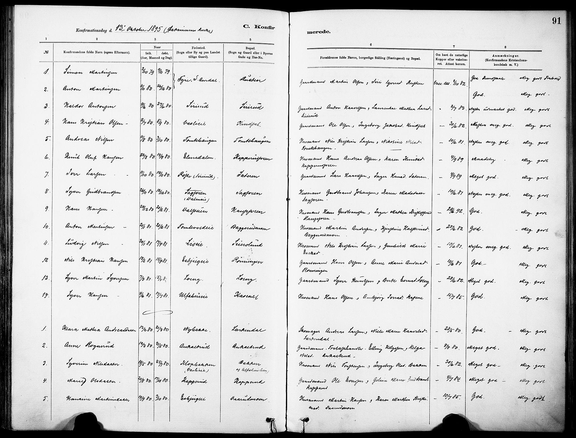 SAH, Nordre Land prestekontor, Ministerialbok nr. 5, 1882-1903, s. 91