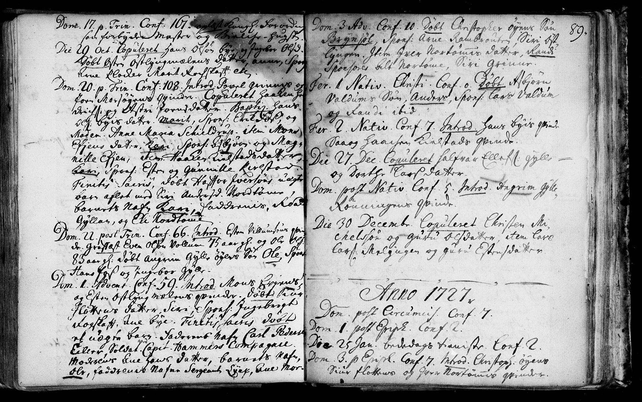 SAT, Ministerialprotokoller, klokkerbøker og fødselsregistre - Sør-Trøndelag, 692/L1101: Ministerialbok nr. 692A01, 1690-1746, s. 89