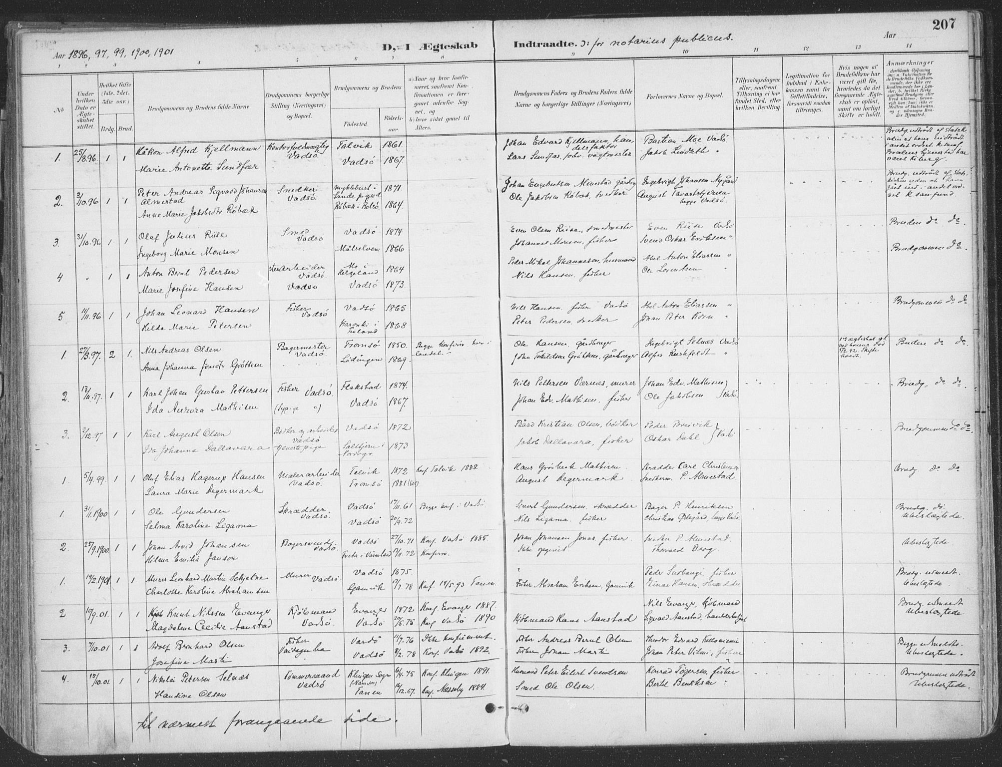 SATØ, Vadsø sokneprestkontor, H/Ha/L0007kirke: Ministerialbok nr. 7, 1896-1916, s. 207