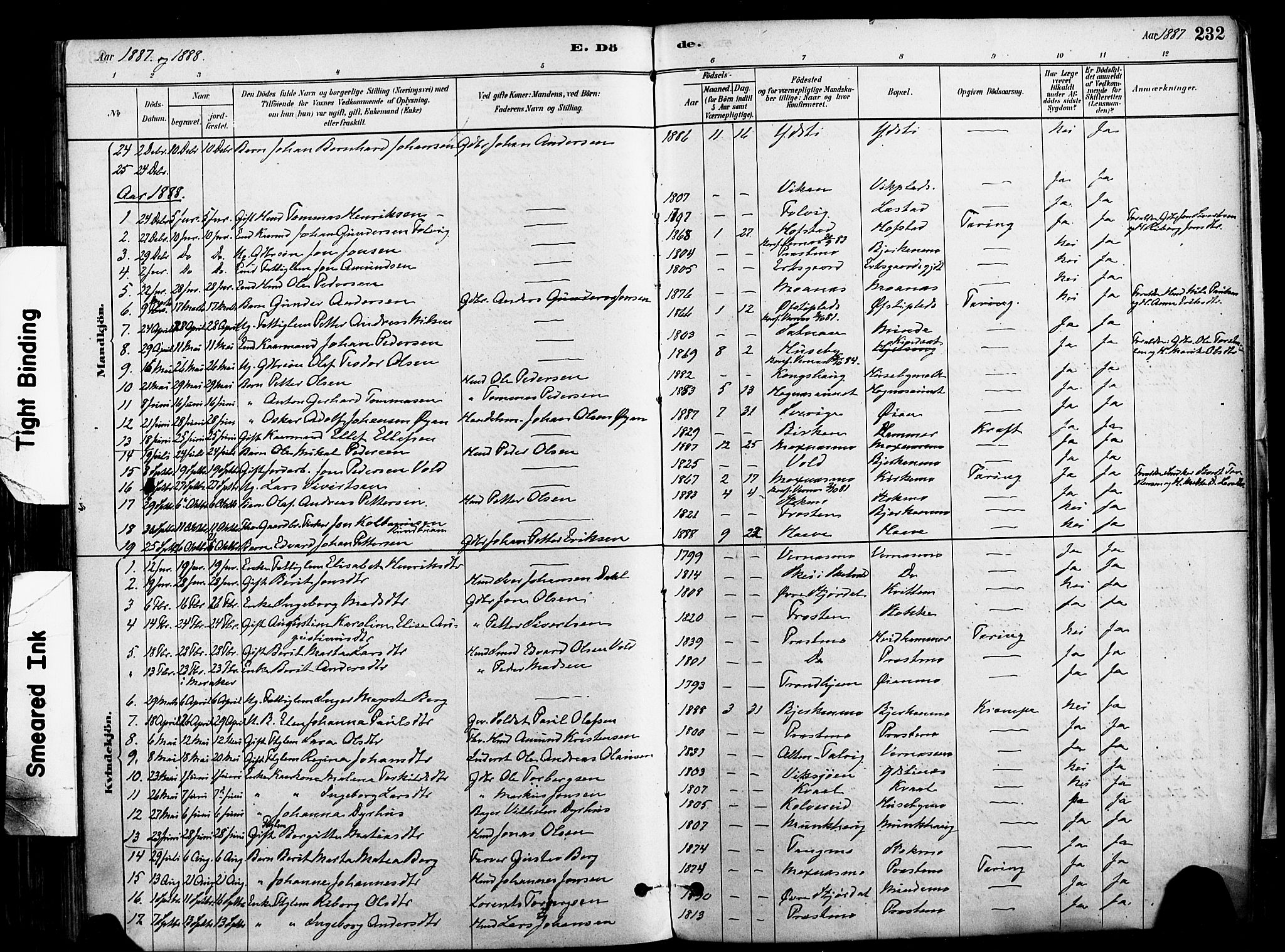 SAT, Ministerialprotokoller, klokkerbøker og fødselsregistre - Nord-Trøndelag, 709/L0077: Ministerialbok nr. 709A17, 1880-1895, s. 232