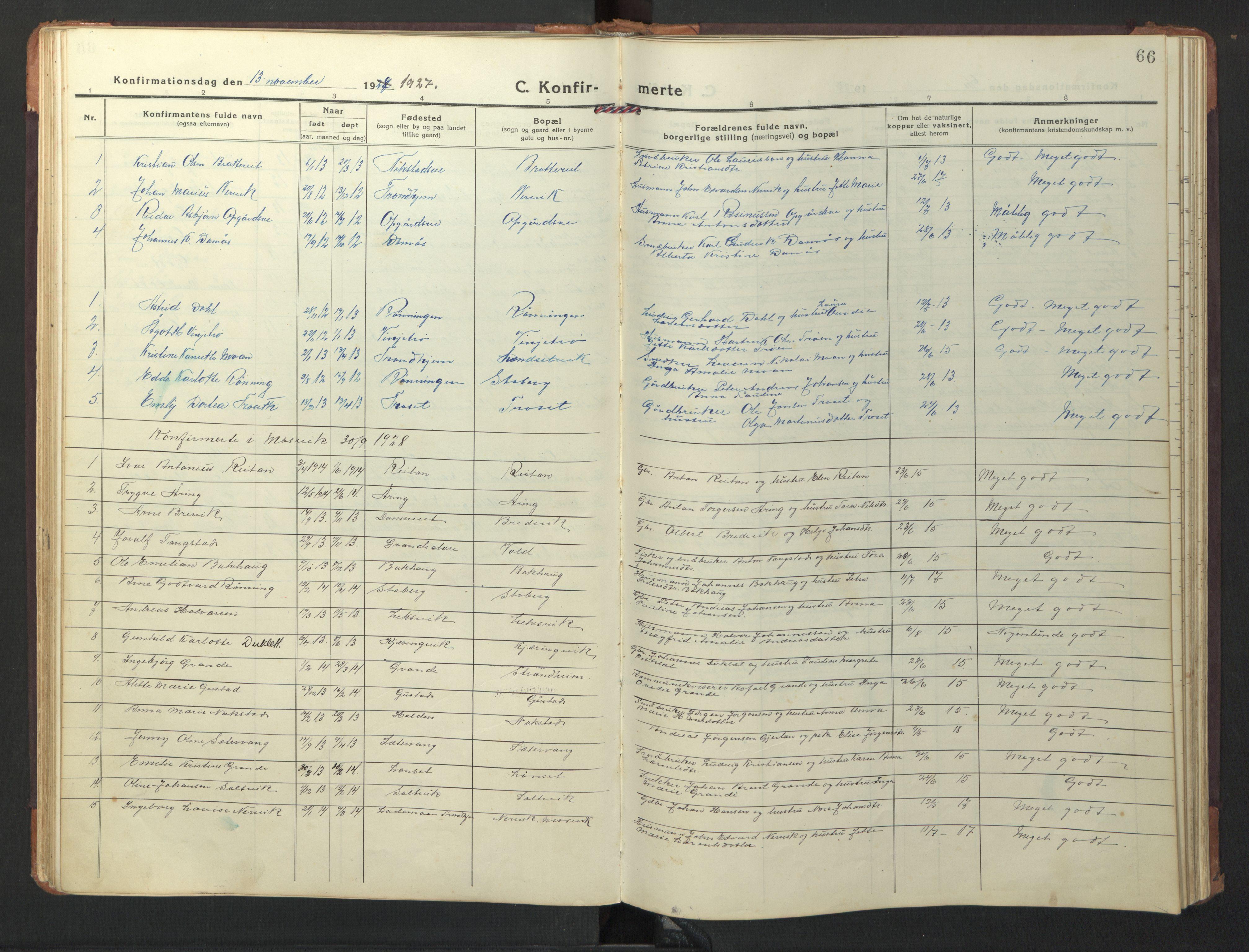 SAT, Ministerialprotokoller, klokkerbøker og fødselsregistre - Nord-Trøndelag, 733/L0328: Klokkerbok nr. 733C03, 1919-1966, s. 66