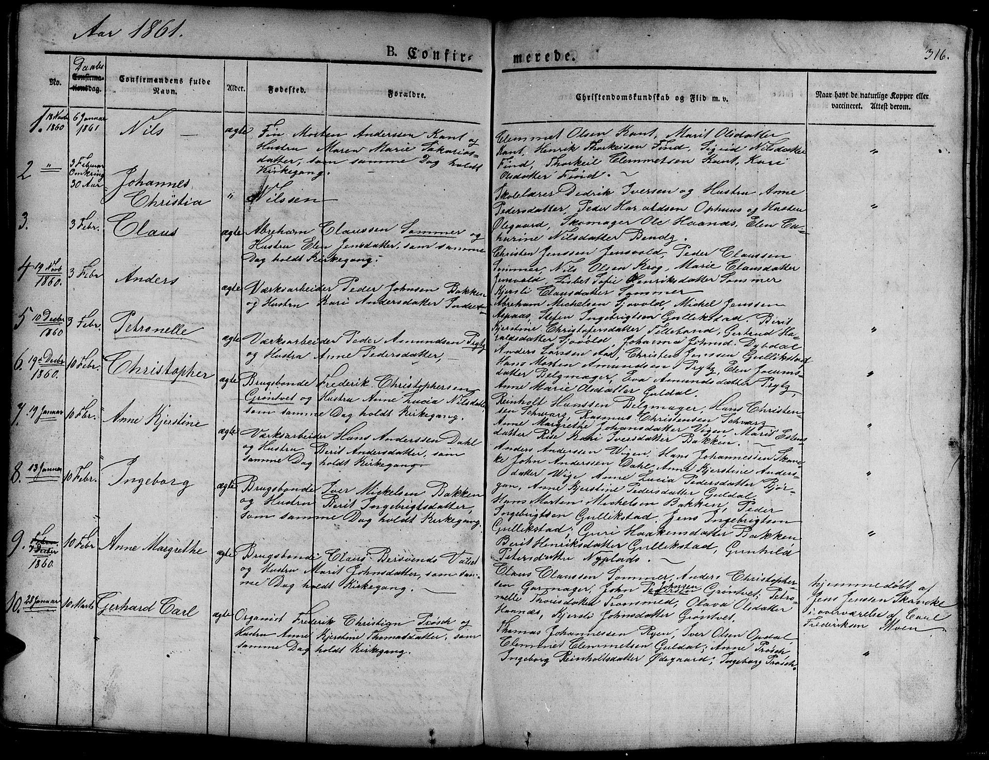 SAT, Ministerialprotokoller, klokkerbøker og fødselsregistre - Sør-Trøndelag, 681/L0938: Klokkerbok nr. 681C02, 1829-1879, s. 316
