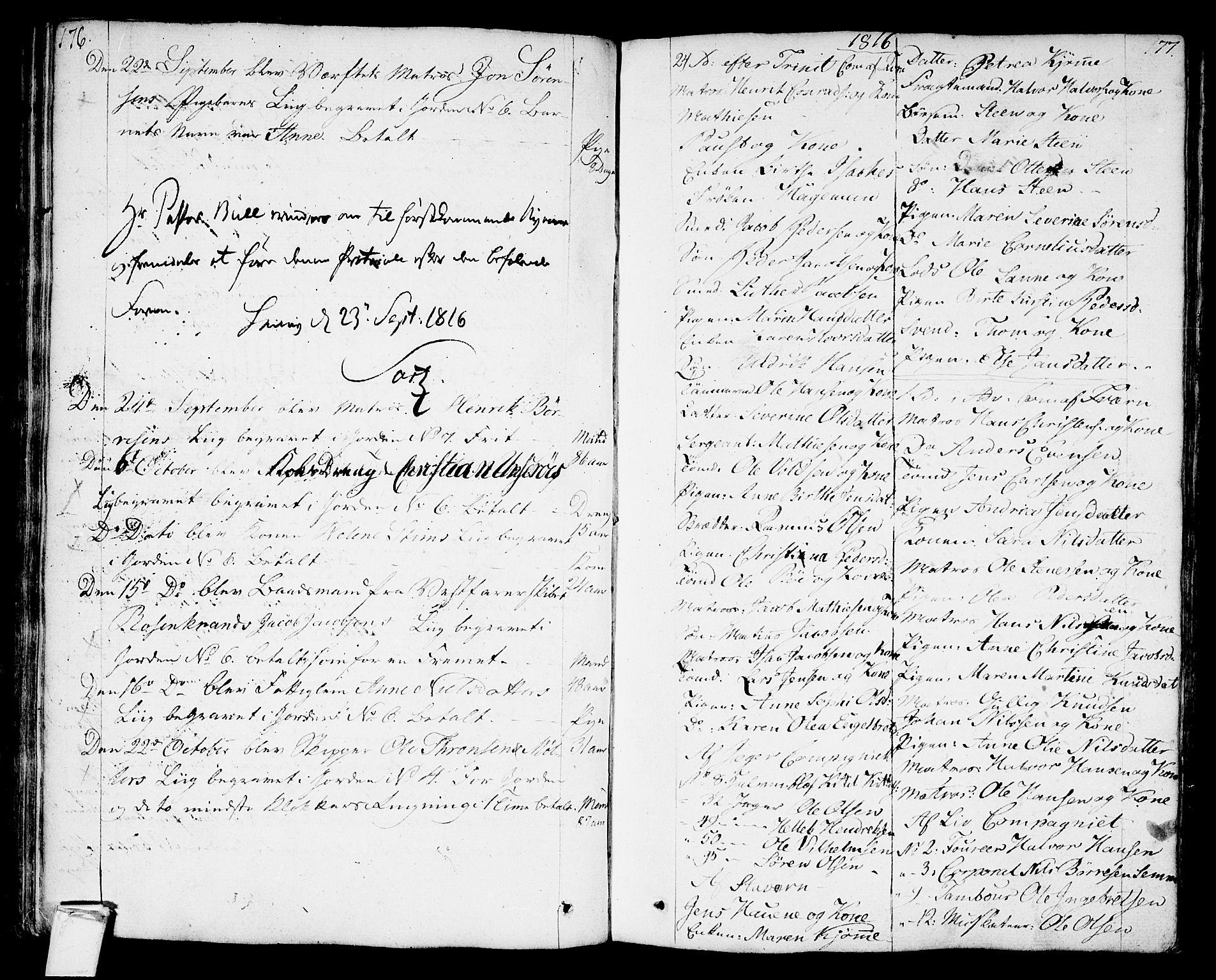 SAKO, Stavern kirkebøker, F/Fa/L0004: Ministerialbok nr. 4, 1809-1816, s. 176-177