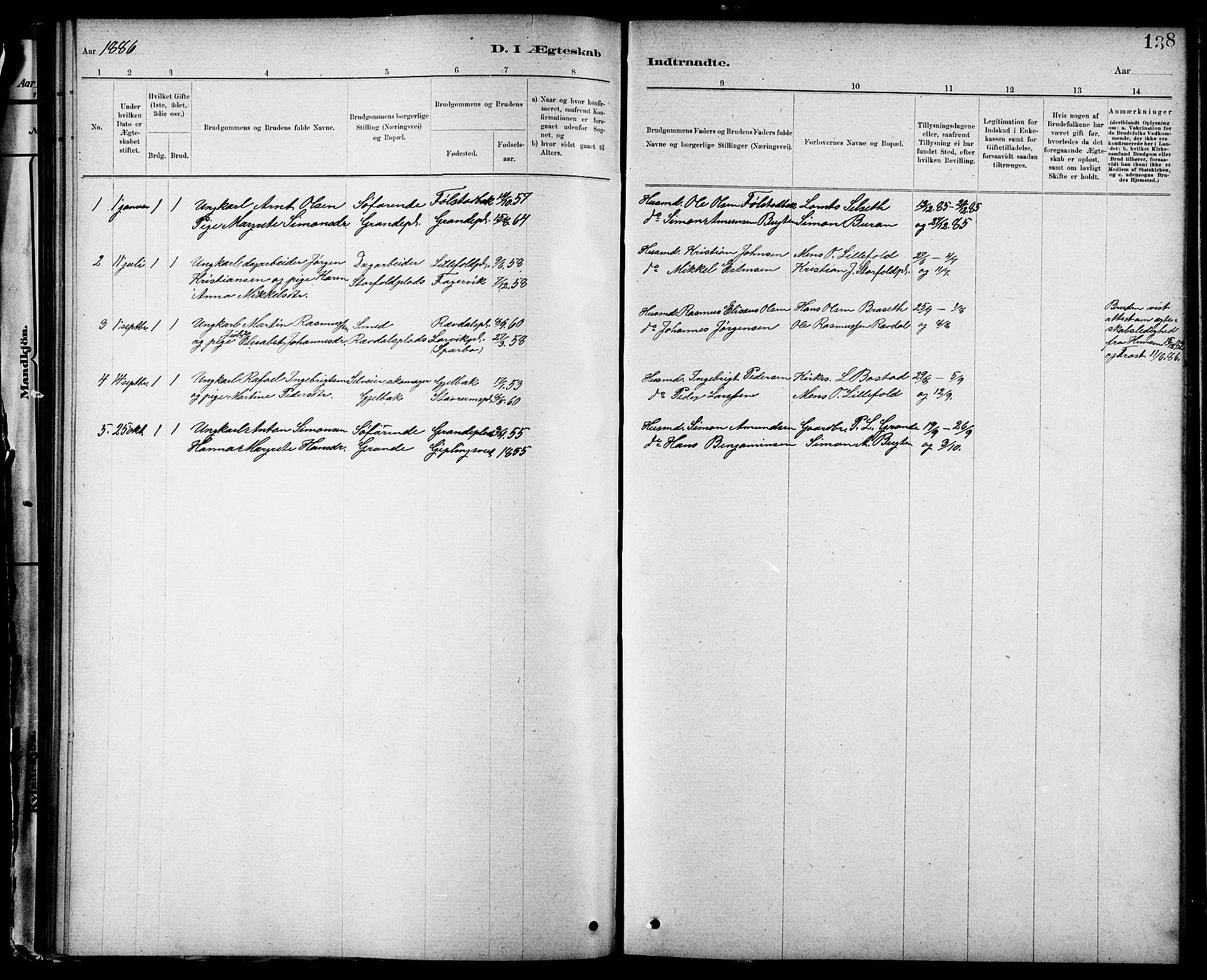 SAT, Ministerialprotokoller, klokkerbøker og fødselsregistre - Nord-Trøndelag, 744/L0423: Klokkerbok nr. 744C02, 1886-1905, s. 138