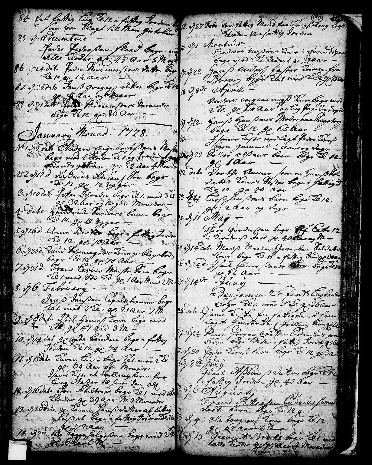 SAKO, Skien kirkebøker, F/Fa/L0002: Ministerialbok nr. 2, 1716-1757, s. 190