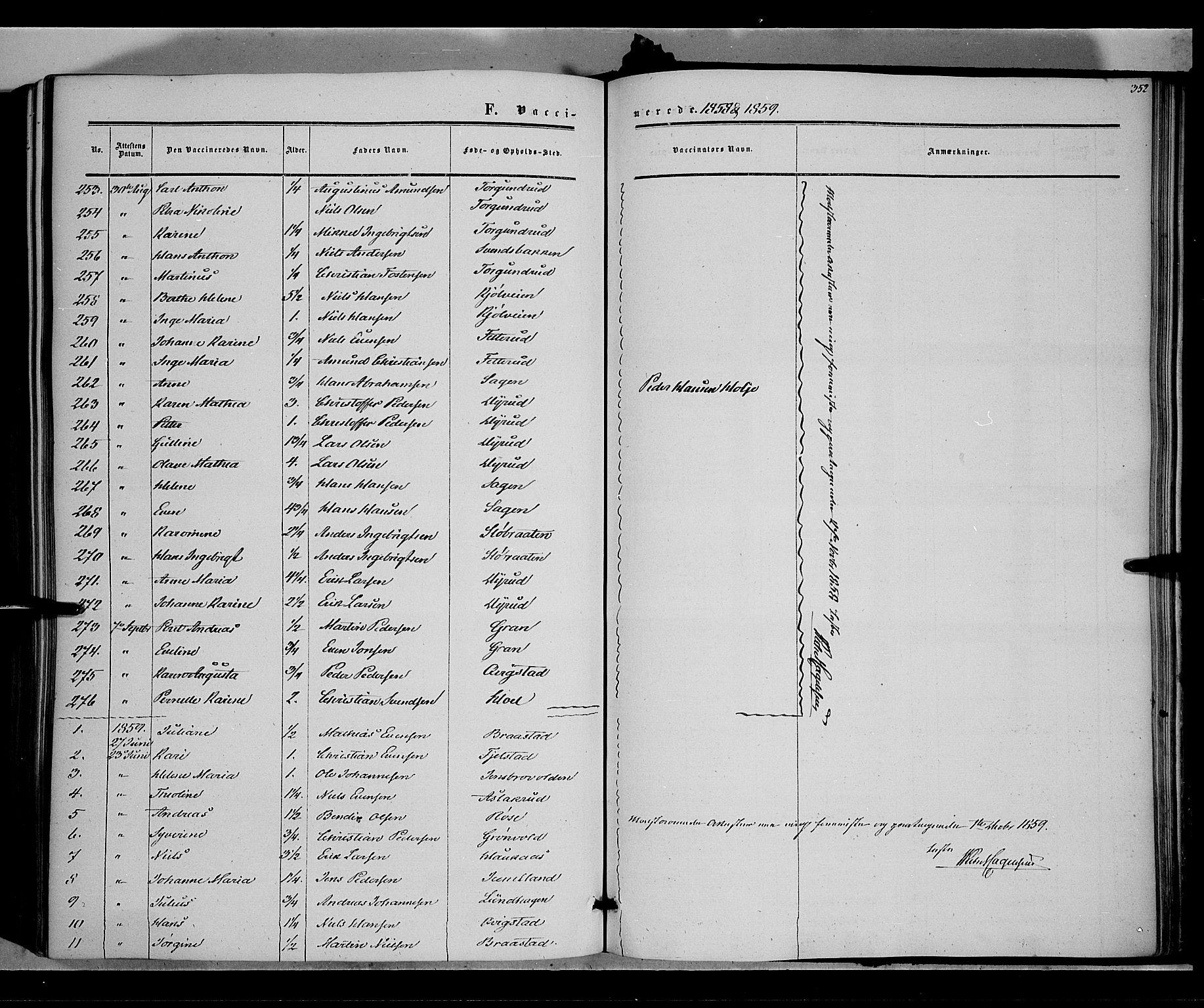 SAH, Vestre Toten prestekontor, Ministerialbok nr. 6, 1856-1861, s. 352