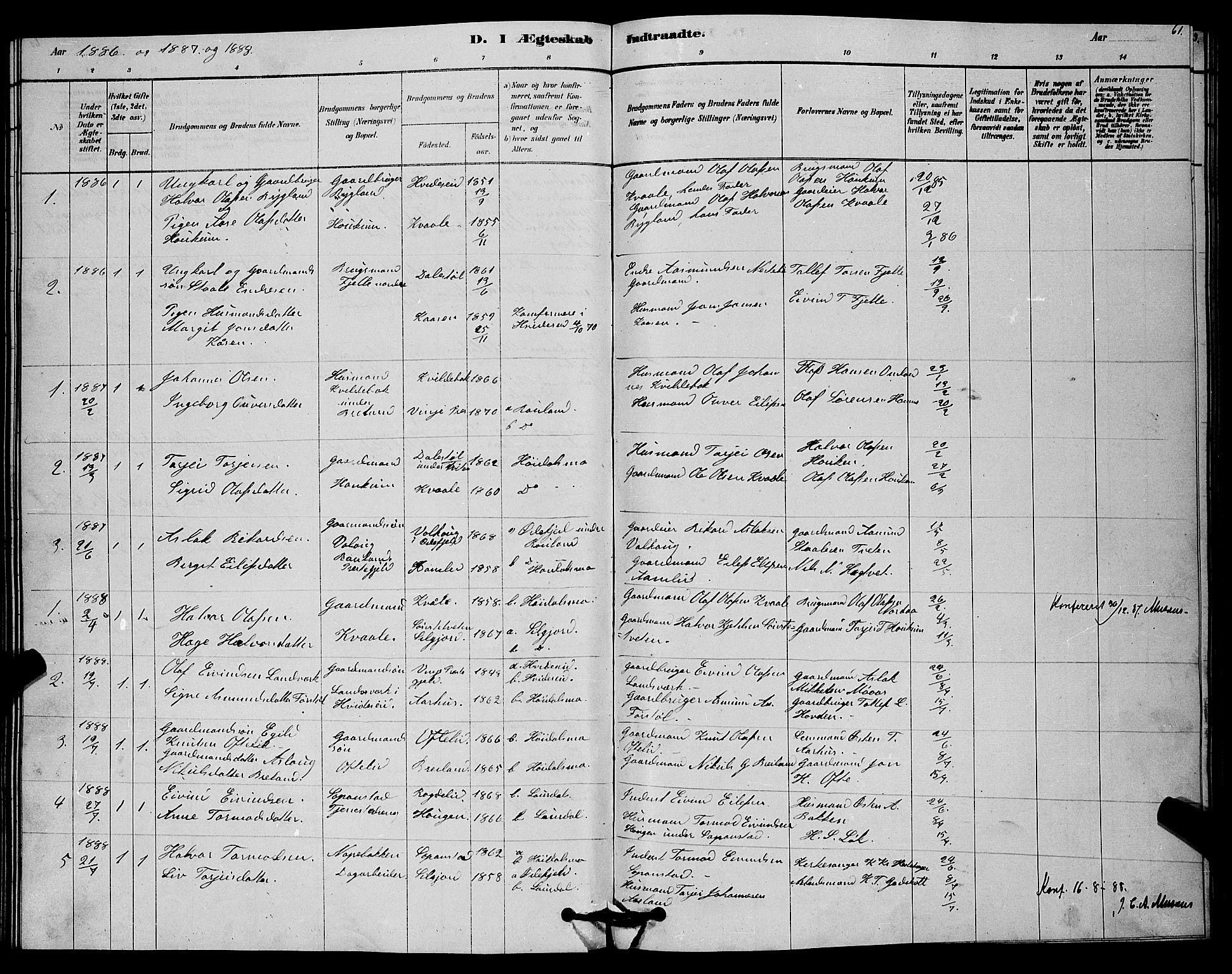 SAKO, Lårdal kirkebøker, G/Gc/L0003: Klokkerbok nr. III 3, 1878-1890, s. 61