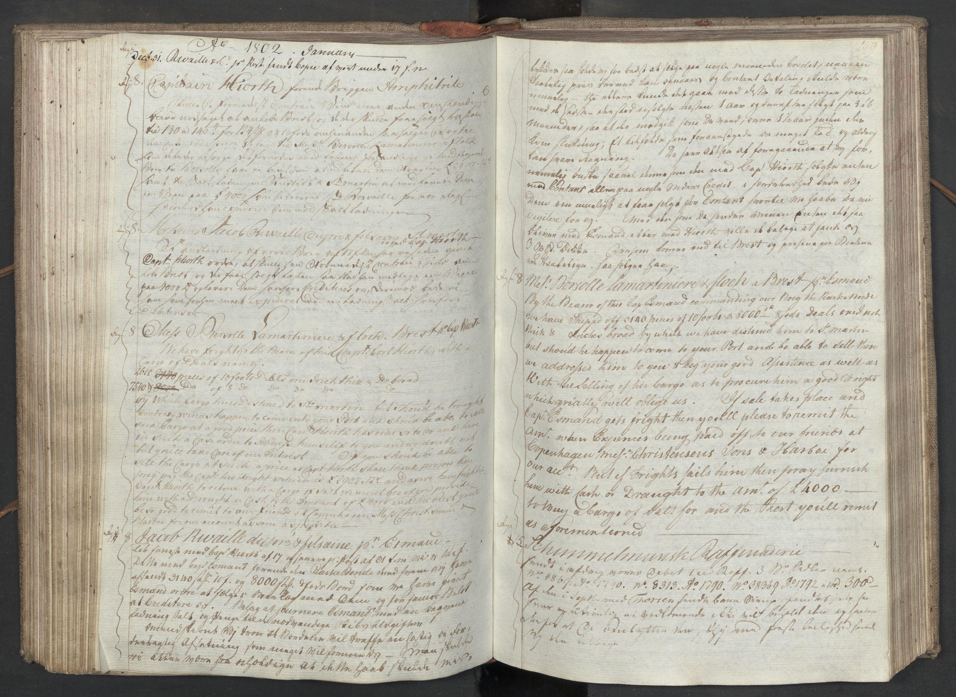SAST, Pa 0003 - Ploug & Sundt, handelshuset, B/L0008: Kopibok, 1797-1804, s. 198b-199a