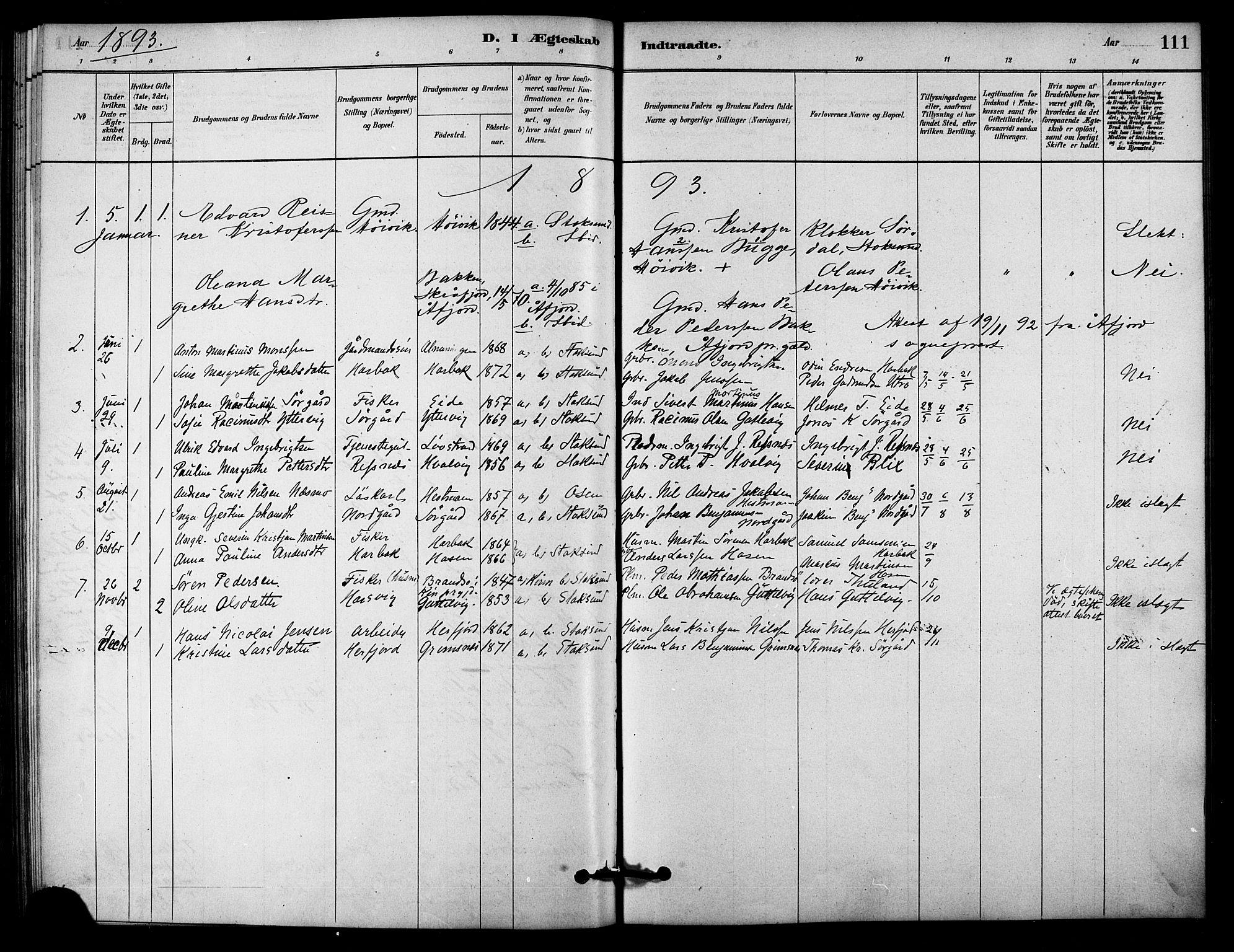 SAT, Ministerialprotokoller, klokkerbøker og fødselsregistre - Sør-Trøndelag, 656/L0692: Ministerialbok nr. 656A01, 1879-1893, s. 111