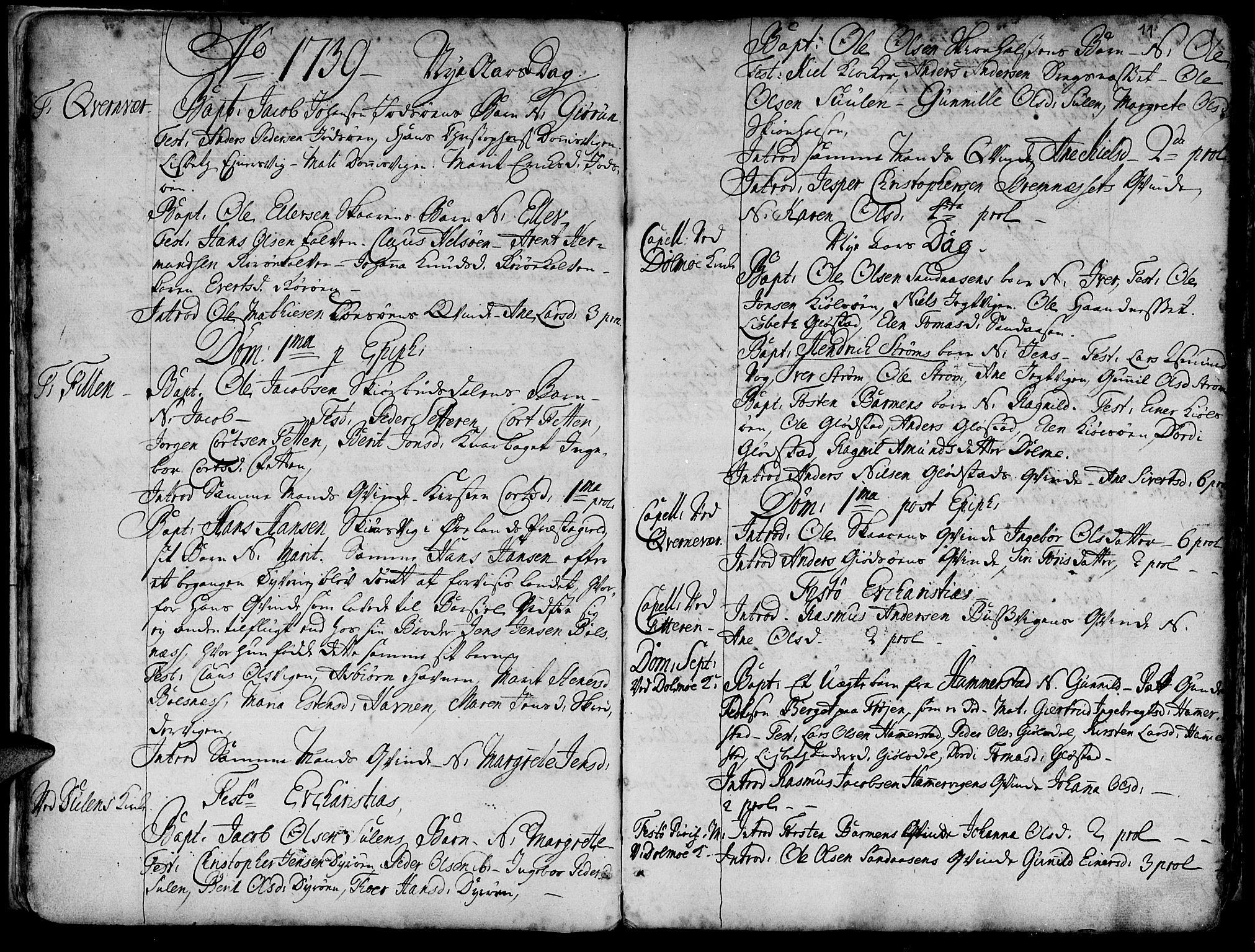 SAT, Ministerialprotokoller, klokkerbøker og fødselsregistre - Sør-Trøndelag, 634/L0525: Ministerialbok nr. 634A01, 1736-1775, s. 11