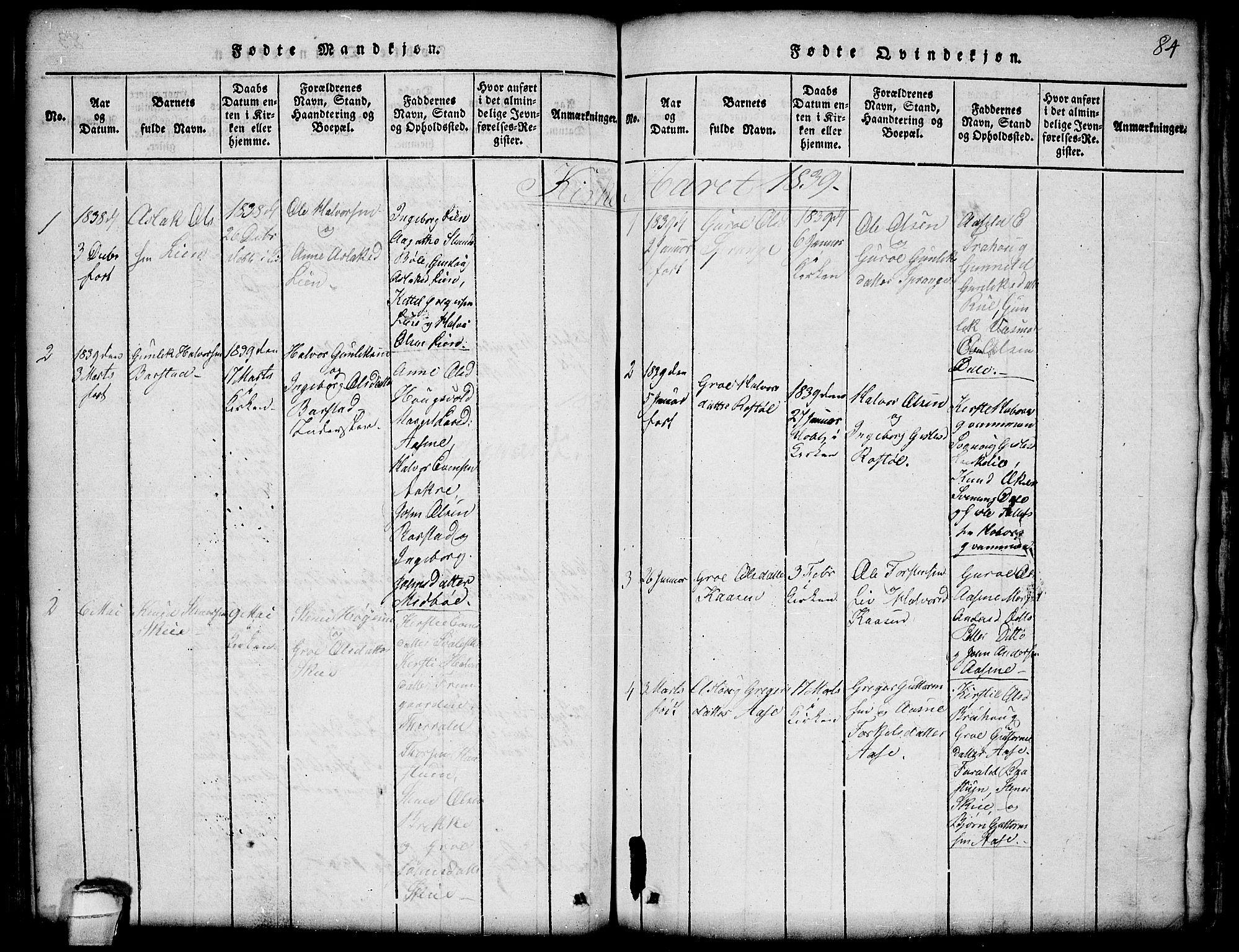 SAKO, Seljord kirkebøker, G/Gb/L0002: Klokkerbok nr. II 2, 1815-1854, s. 84