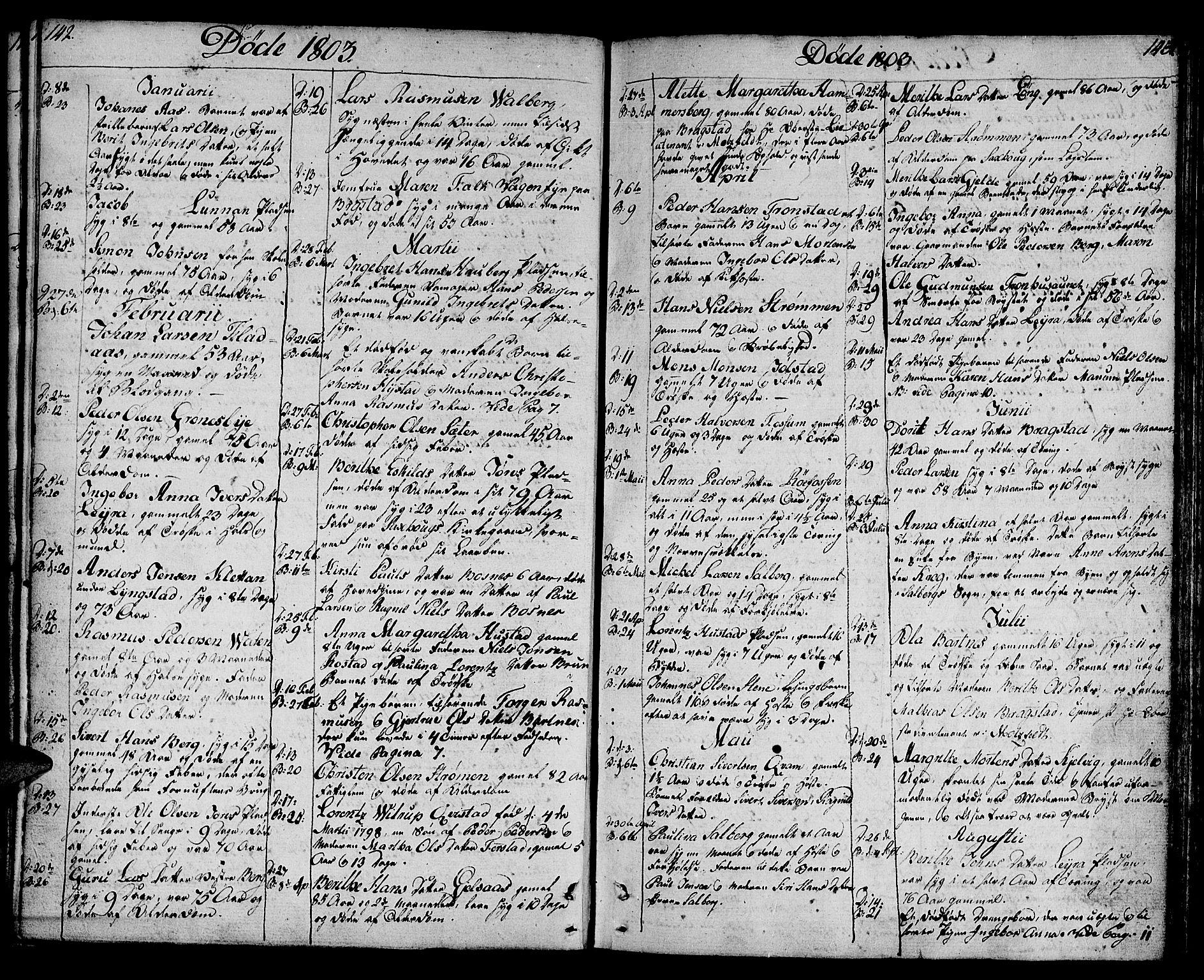 SAT, Ministerialprotokoller, klokkerbøker og fødselsregistre - Nord-Trøndelag, 730/L0274: Ministerialbok nr. 730A03, 1802-1816, s. 142-143