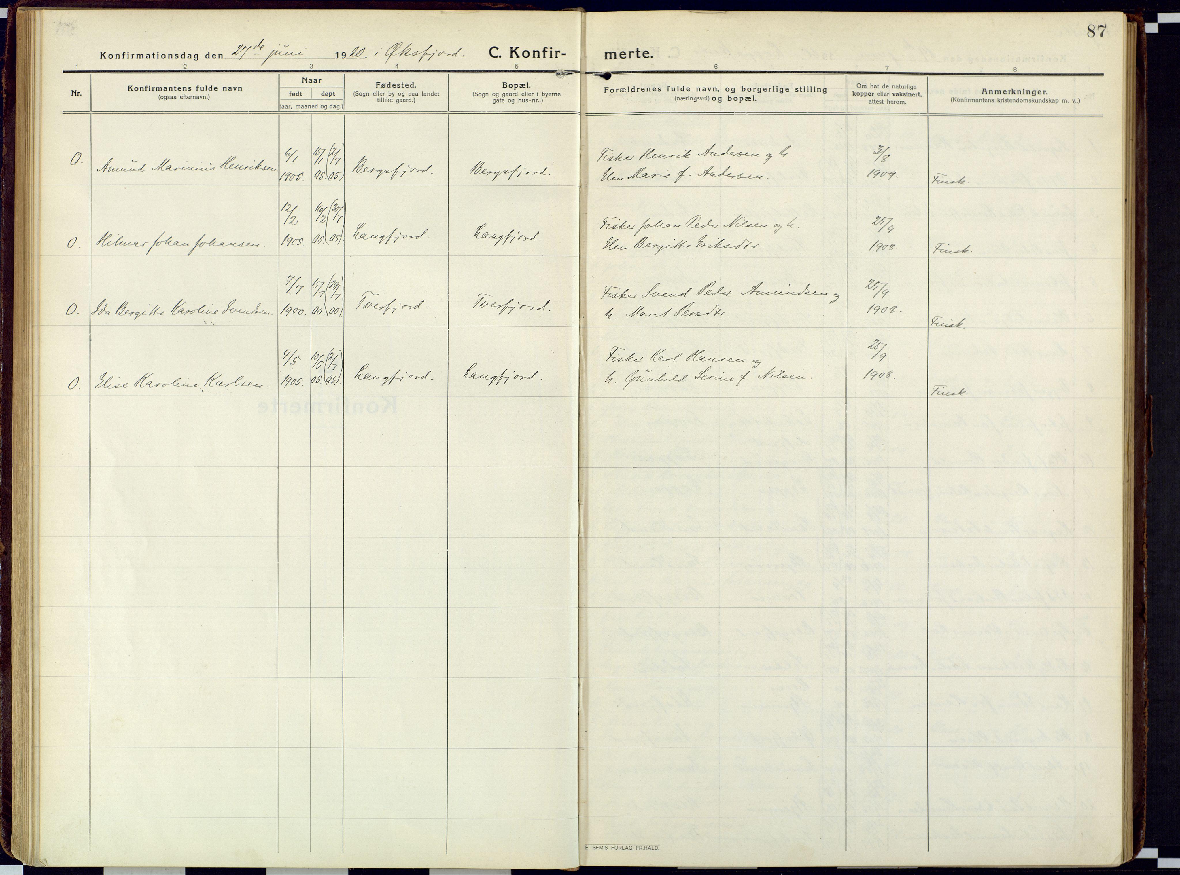 SATØ, Loppa sokneprestkontor, H/Ha/L0013kirke: Ministerialbok nr. 13, 1920-1932, s. 87