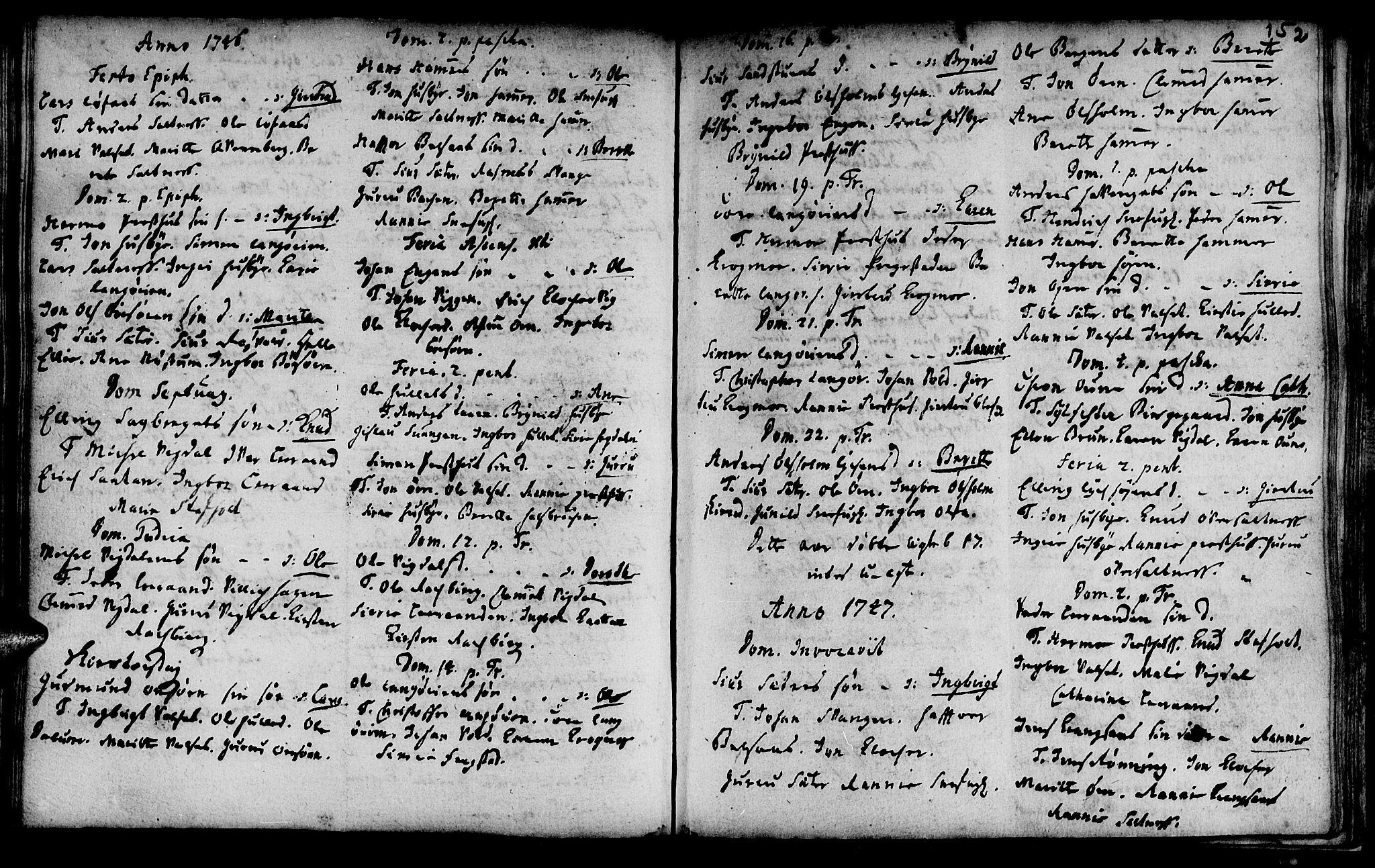 SAT, Ministerialprotokoller, klokkerbøker og fødselsregistre - Sør-Trøndelag, 666/L0783: Ministerialbok nr. 666A01, 1702-1753, s. 152