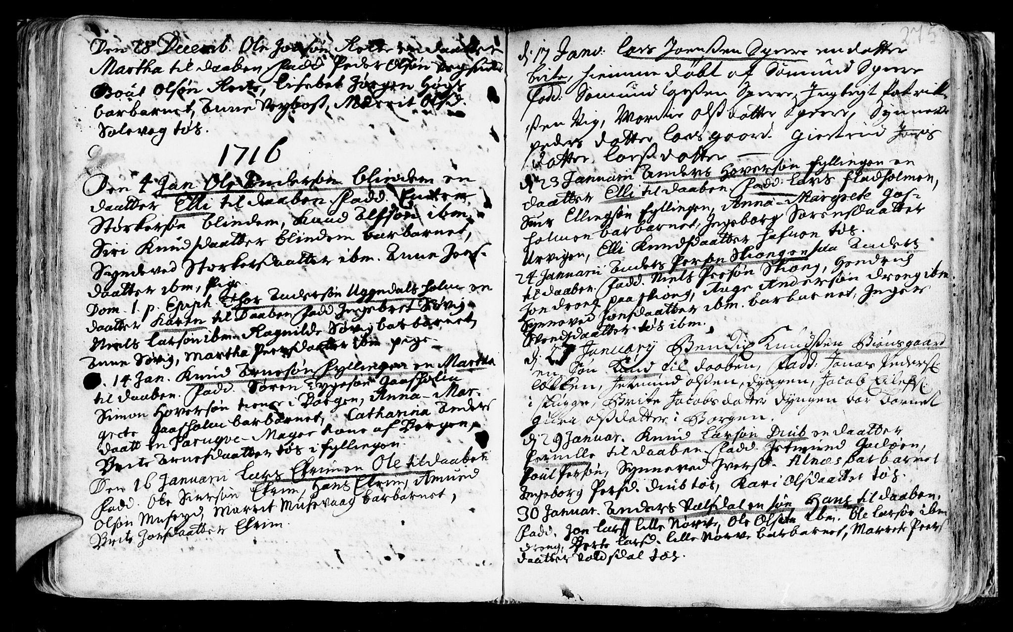 SAT, Ministerialprotokoller, klokkerbøker og fødselsregistre - Møre og Romsdal, 528/L0390: Ministerialbok nr. 528A01, 1698-1739, s. 274-275