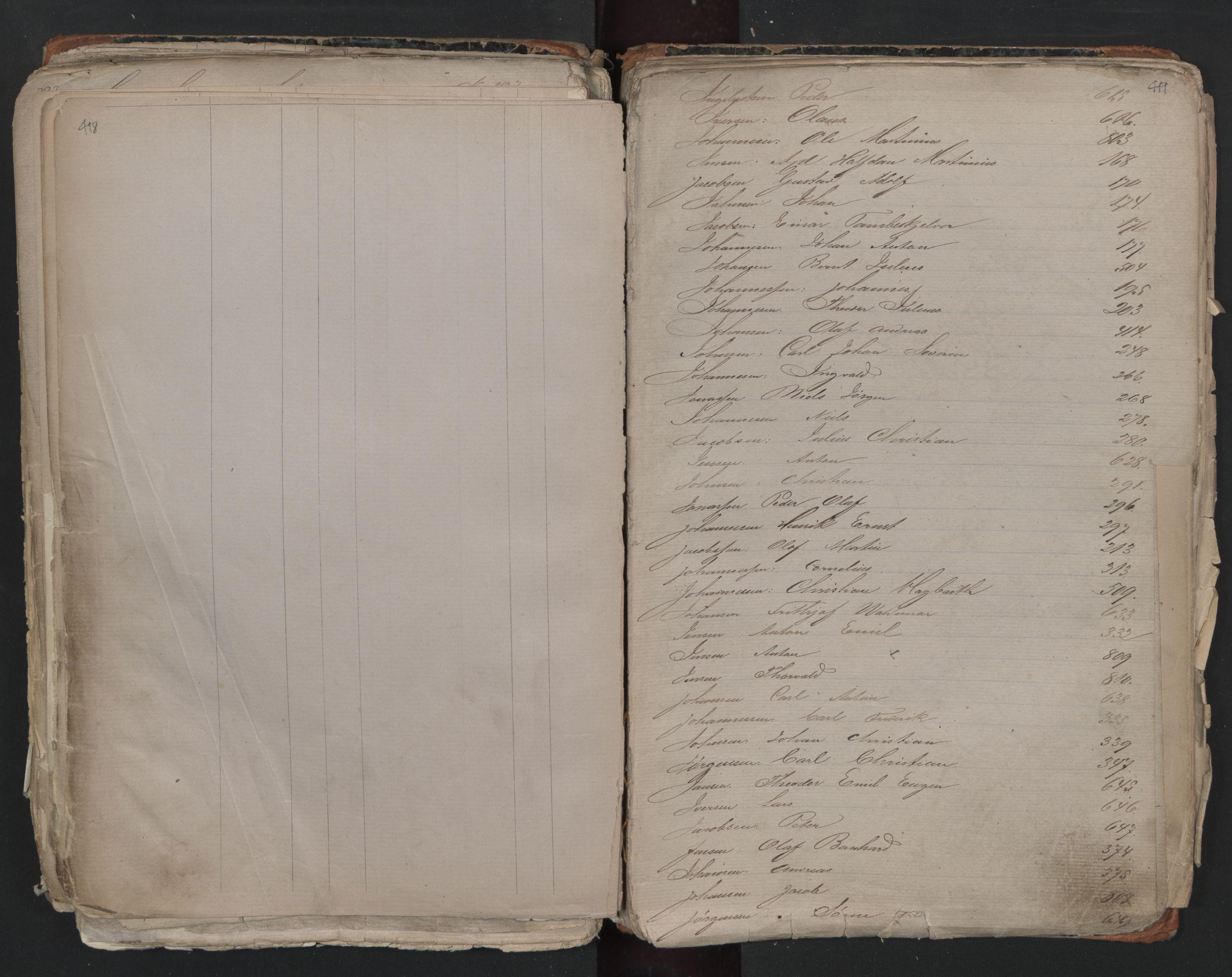 SAO, Oslo sjømannskontor, F/Fa/L0001: Register for Kristiania krets, 1866-1891, s. 418-419