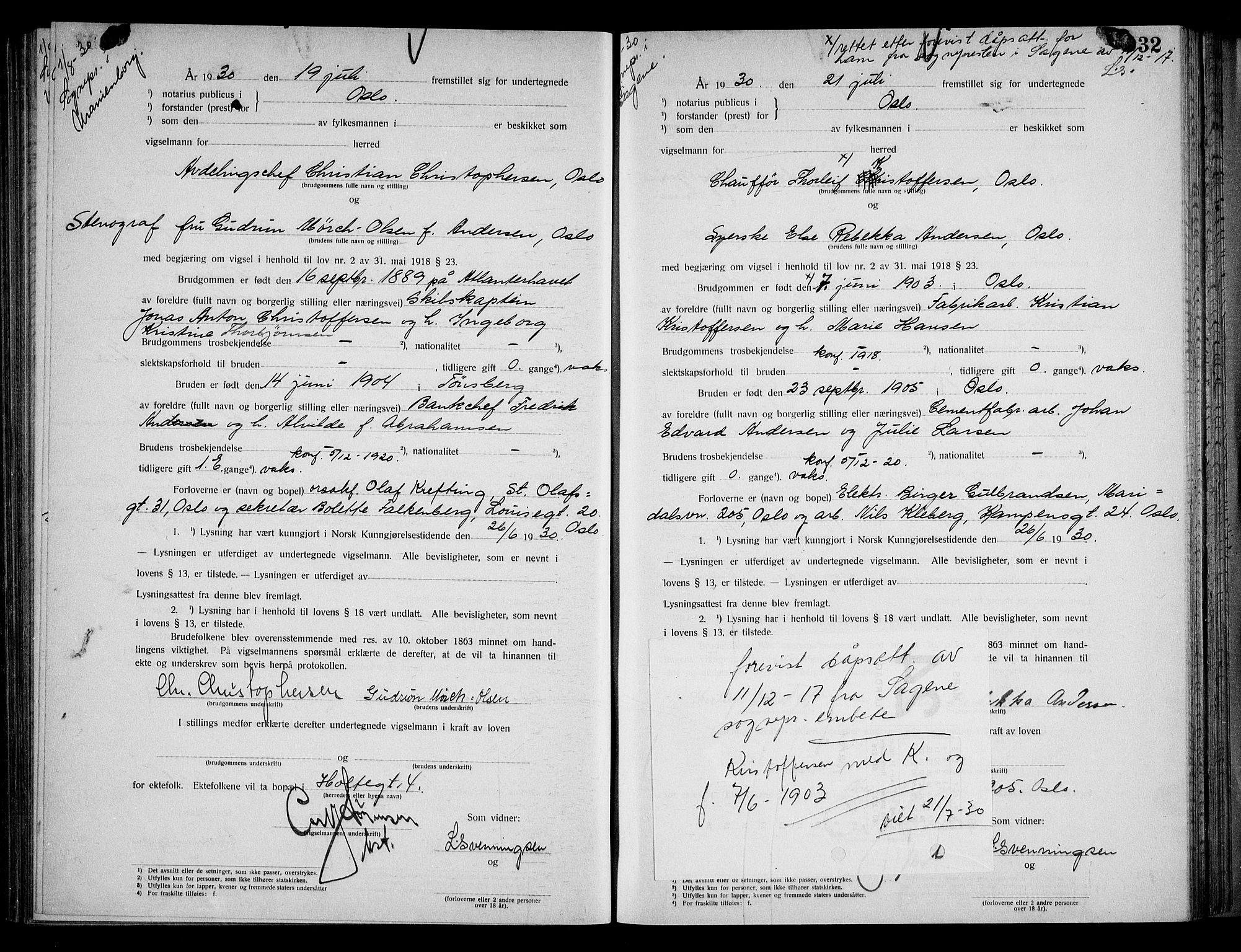 SAO, Oslo byfogd avd. I, L/Lb/Lbb/L0020: Notarialprotokoll, rekke II: Vigsler, 1929-1930, s. 31b-32a