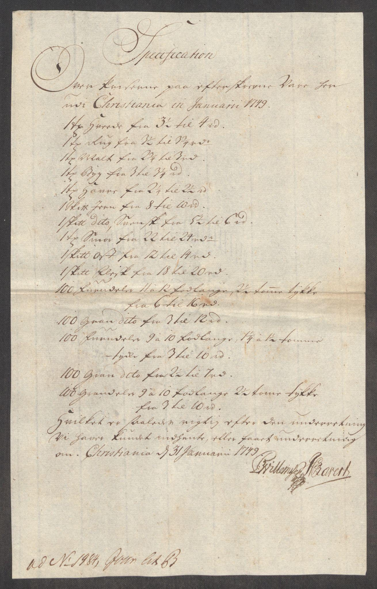RA, Rentekammeret inntil 1814, Realistisk ordnet avdeling, Oe/L0004: [Ø1]: Priskuranter, 1749-1752, s. 36