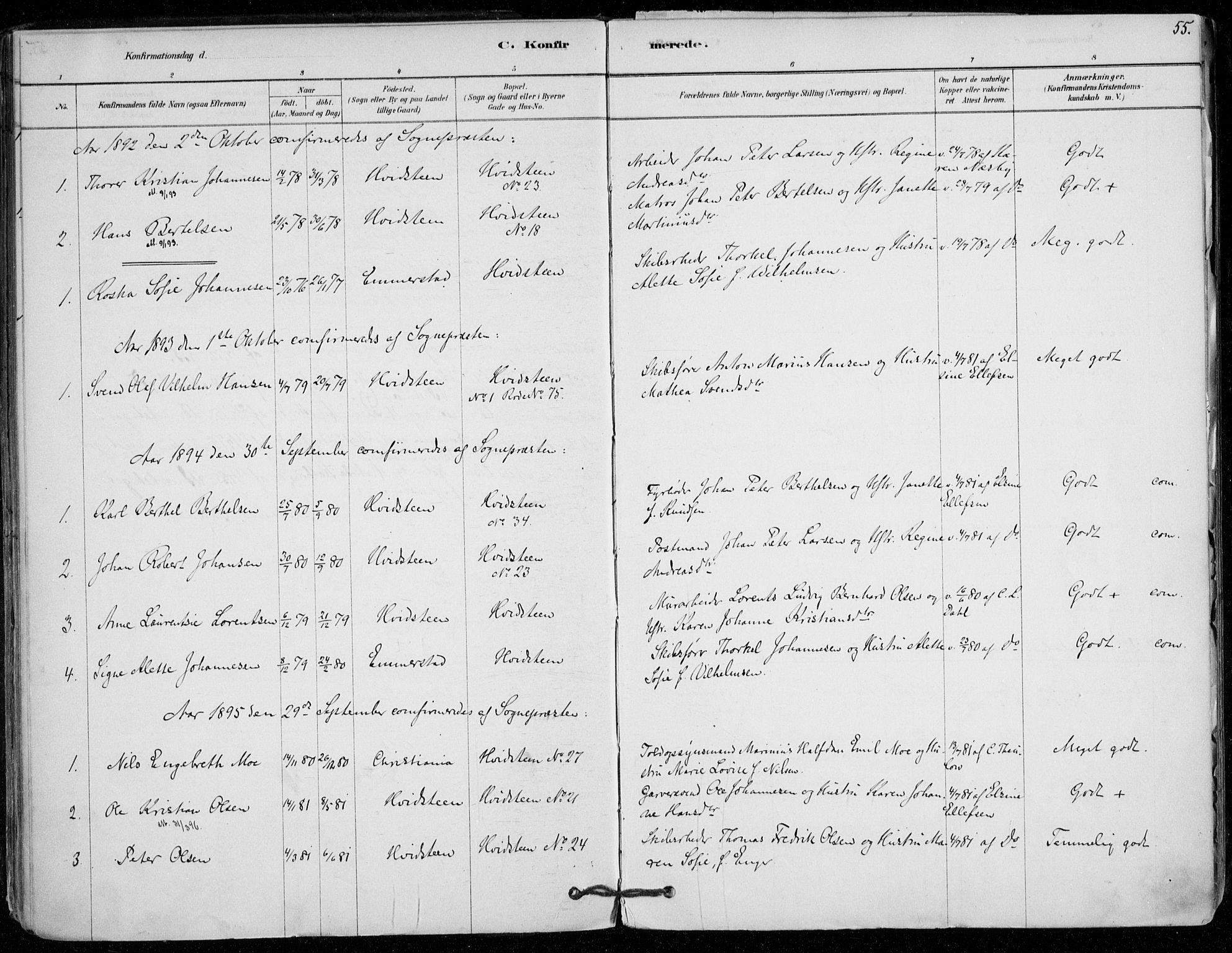 SAO, Vestby prestekontor Kirkebøker, F/Fd/L0001: Ministerialbok nr. IV 1, 1878-1945, s. 55