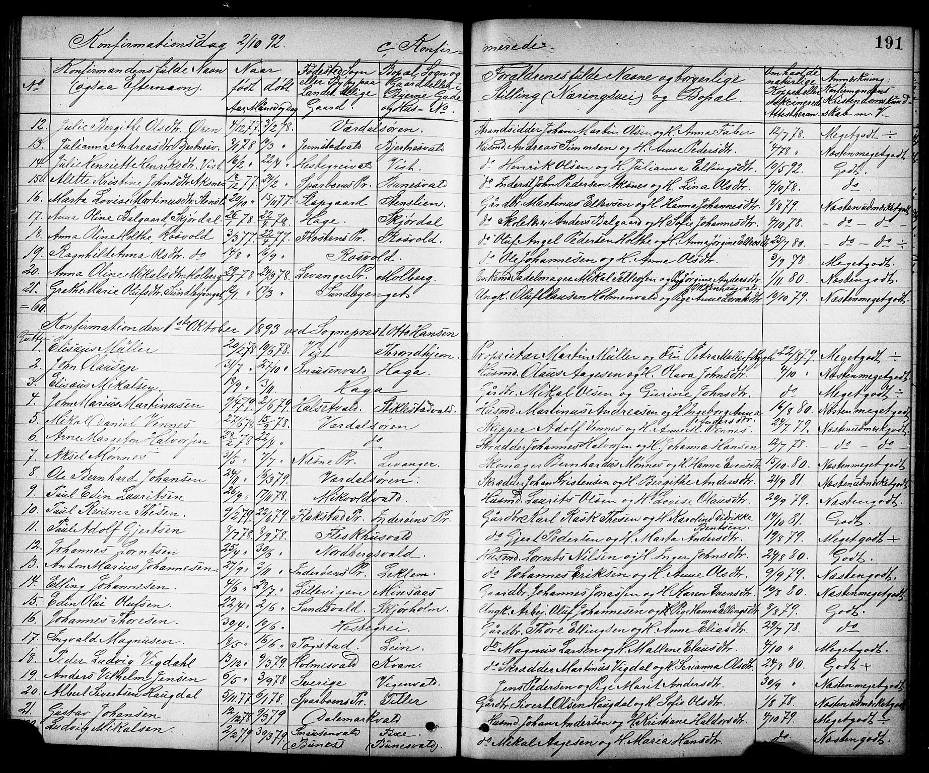 SAT, Ministerialprotokoller, klokkerbøker og fødselsregistre - Nord-Trøndelag, 723/L0257: Klokkerbok nr. 723C05, 1890-1907, s. 191