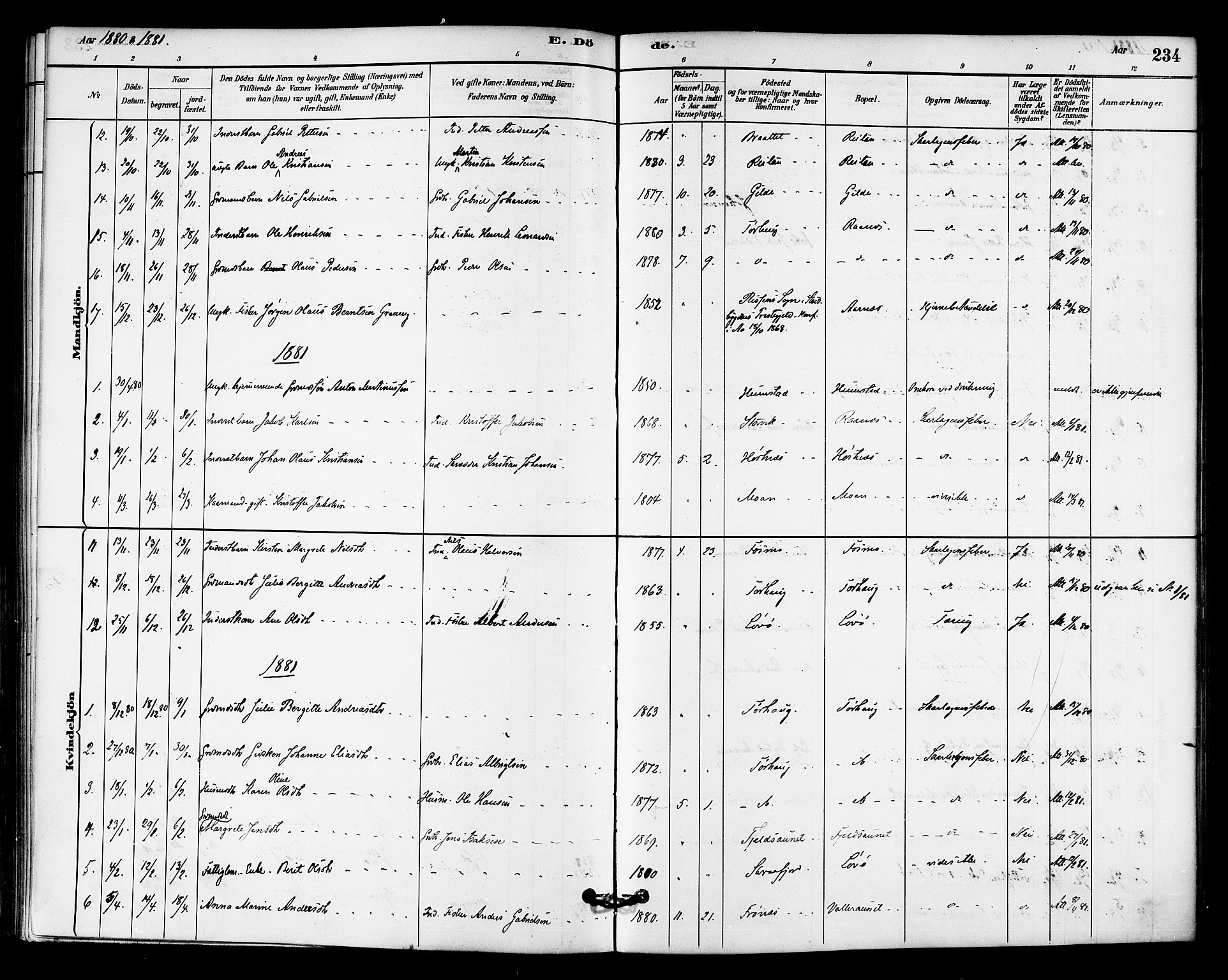 SAT, Ministerialprotokoller, klokkerbøker og fødselsregistre - Sør-Trøndelag, 655/L0680: Ministerialbok nr. 655A09, 1880-1894, s. 234