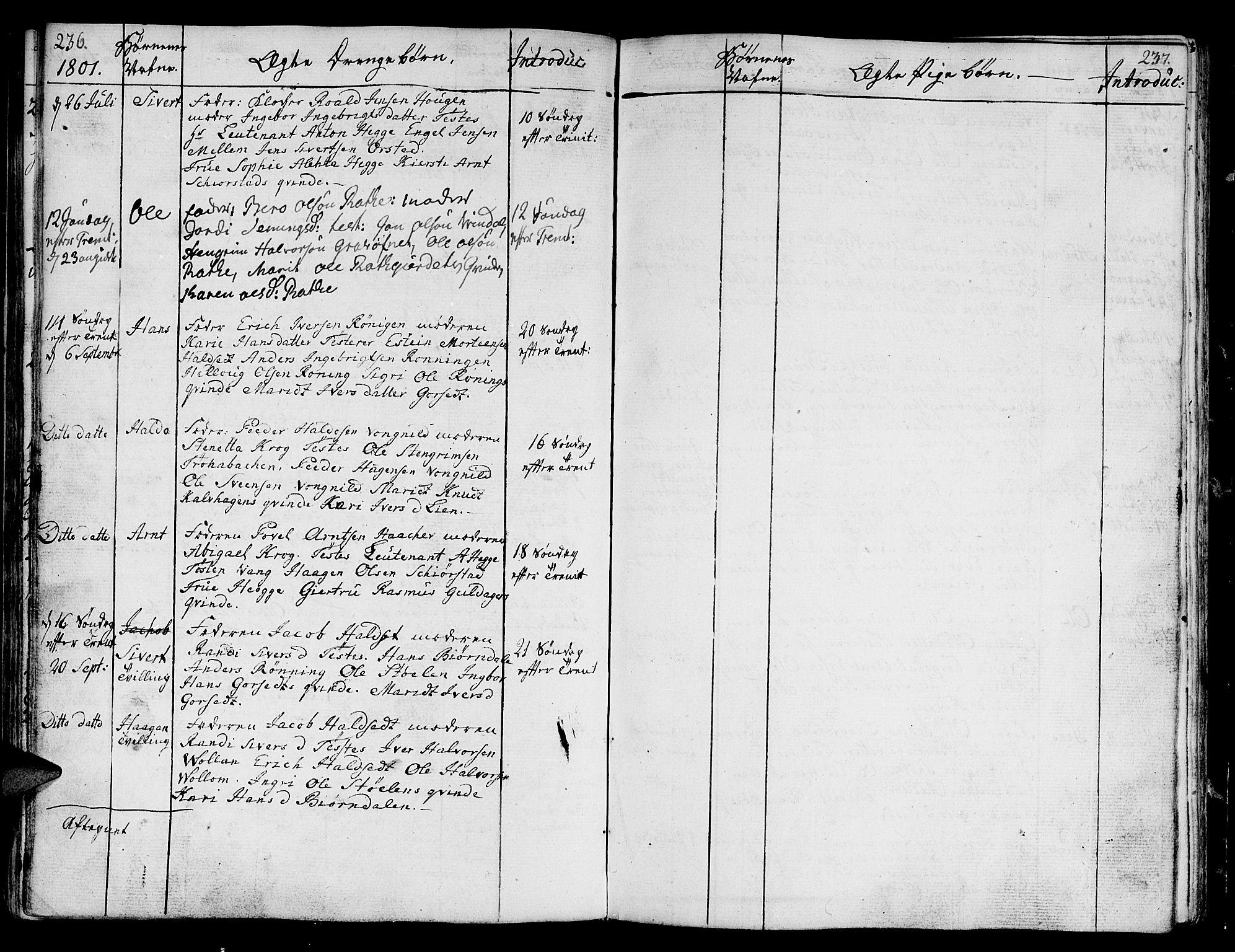 SAT, Ministerialprotokoller, klokkerbøker og fødselsregistre - Sør-Trøndelag, 678/L0893: Ministerialbok nr. 678A03, 1792-1805, s. 236-237