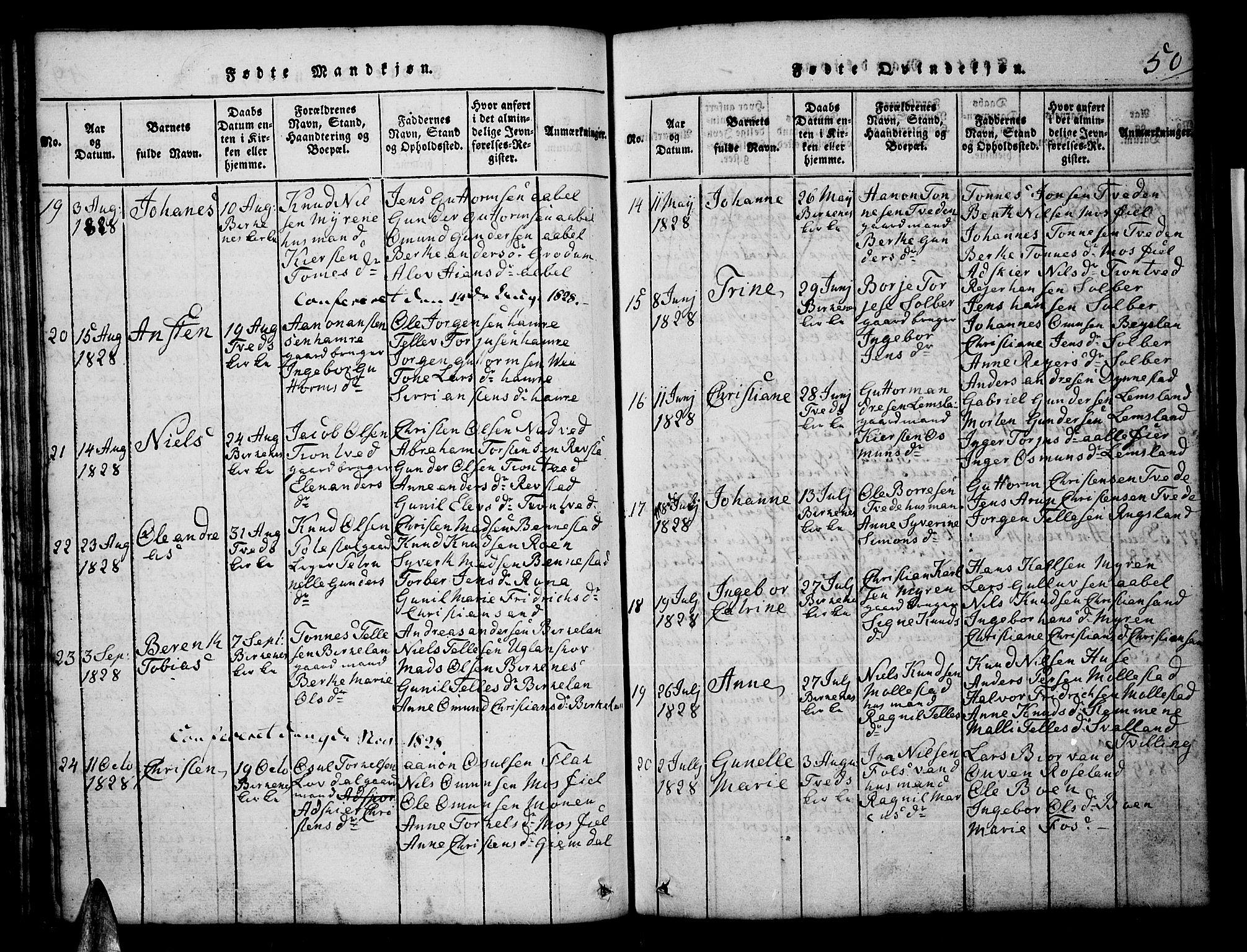 SAK, Tveit sokneprestkontor, F/Fb/L0001: Klokkerbok nr. B 1, 1820-1834, s. 50