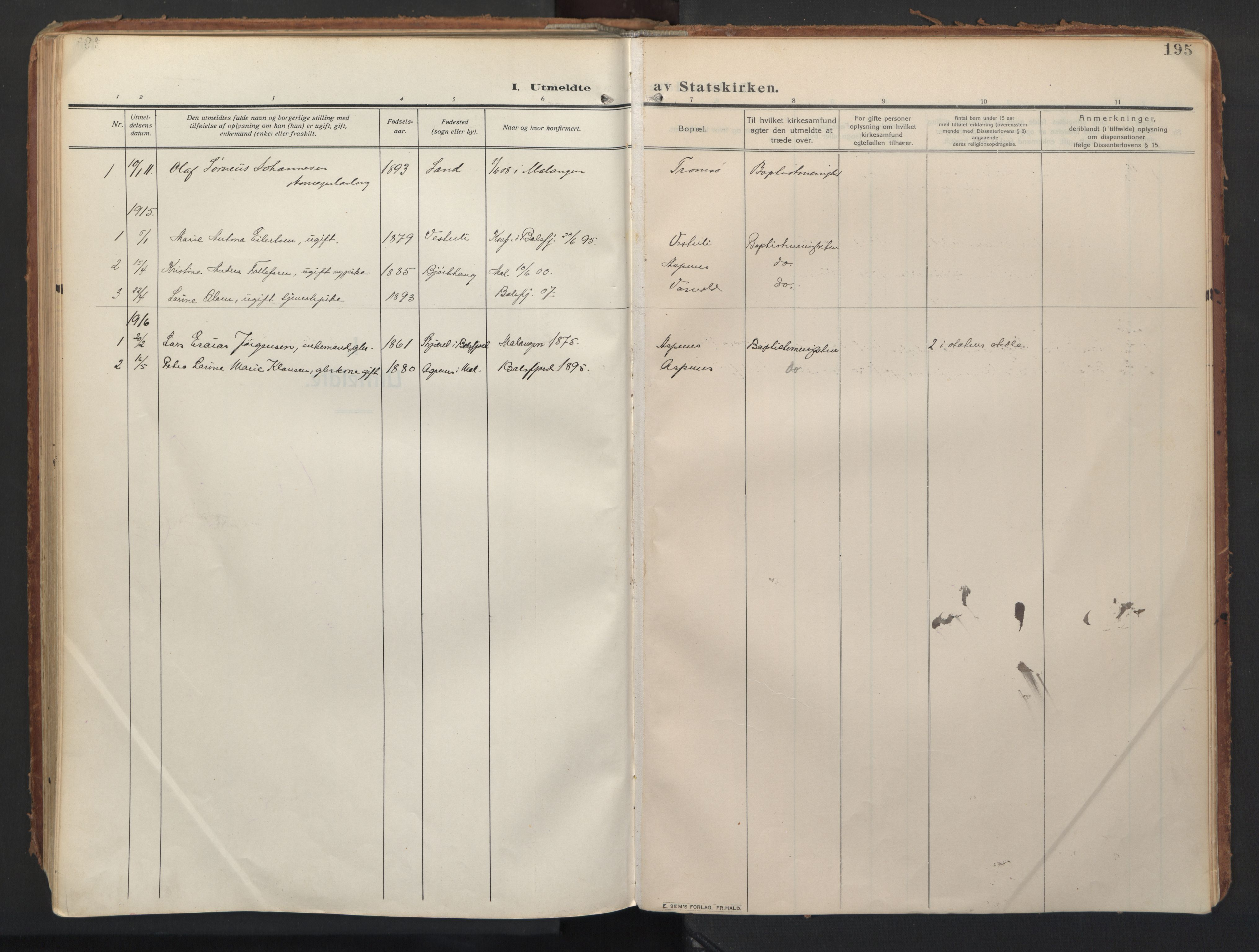 SATØ, Balsfjord sokneprestembete, Ministerialbok nr. 8, 1910-1927, s. 195