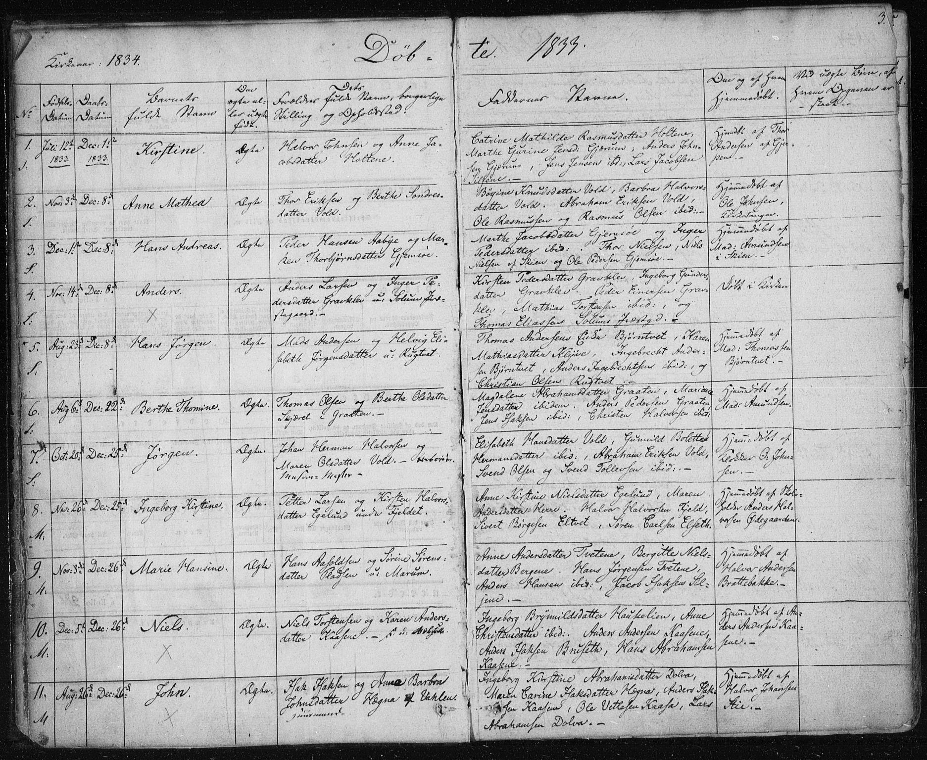 SAKO, Solum kirkebøker, F/Fa/L0005: Ministerialbok nr. I 5, 1833-1843, s. 3