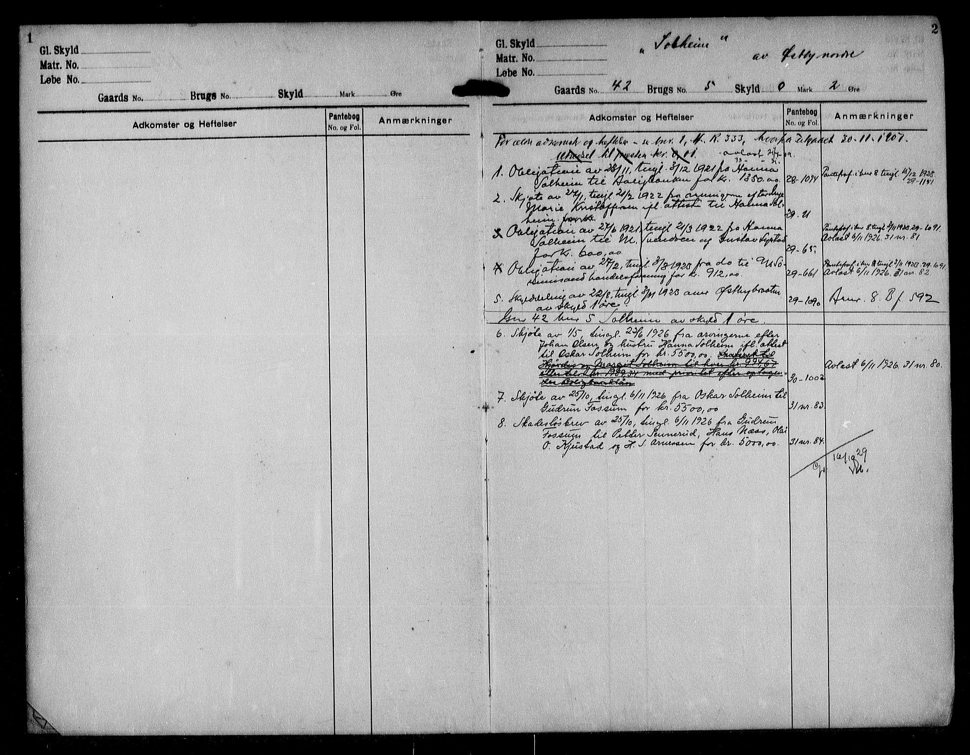 SAO, Nes tingrett, G/Ga/Gab/Gaba/L0020: Panteregister nr. I 20, s. 1-2