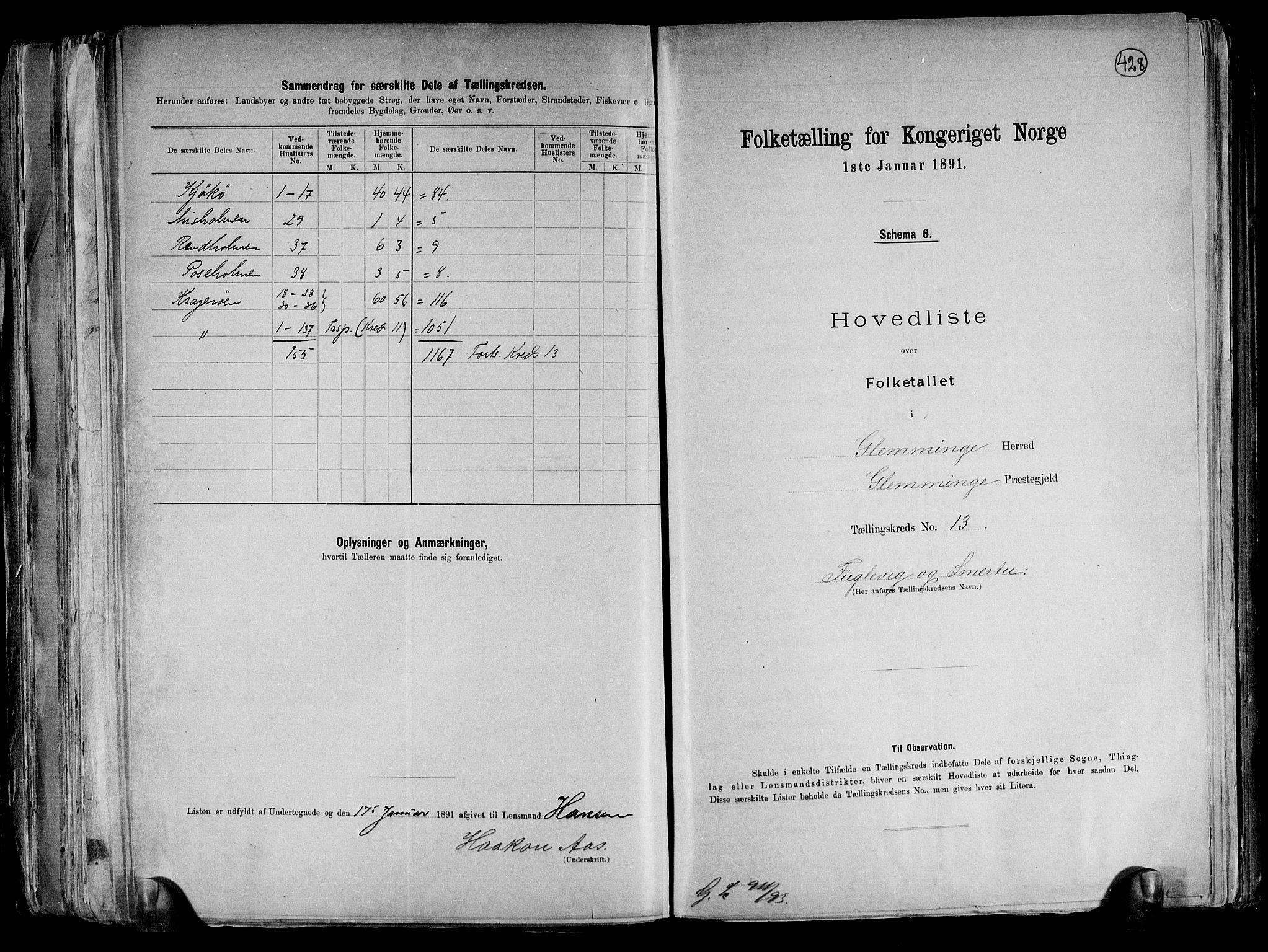 RA, Folketelling 1891 for 0132 Glemmen herred, 1891, s. 40