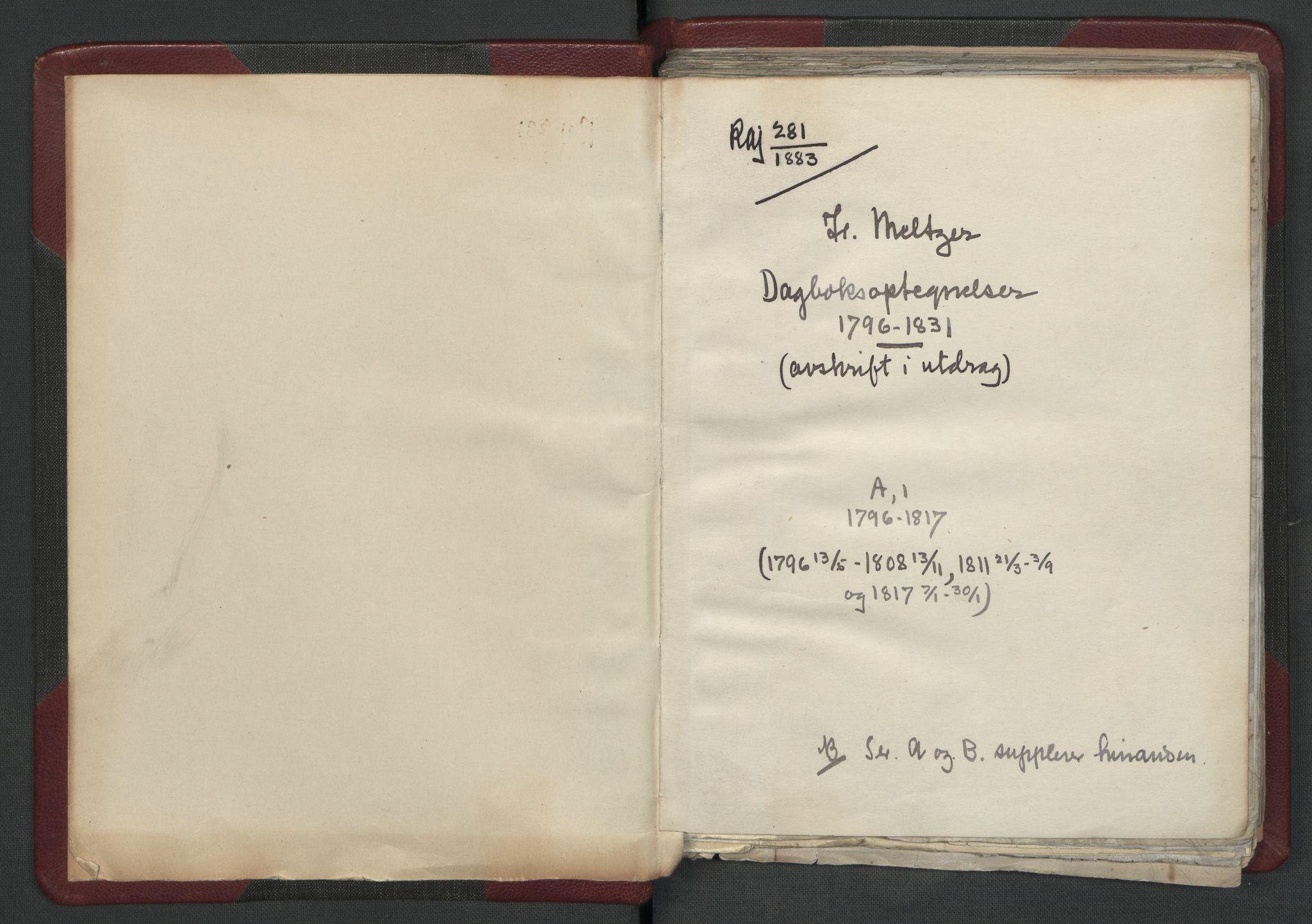 RA, Meltzer, Fredrik, F/L0001: Dagbok for årene 1796-1808, 1811, 1817, 1796-1817, s. upaginert
