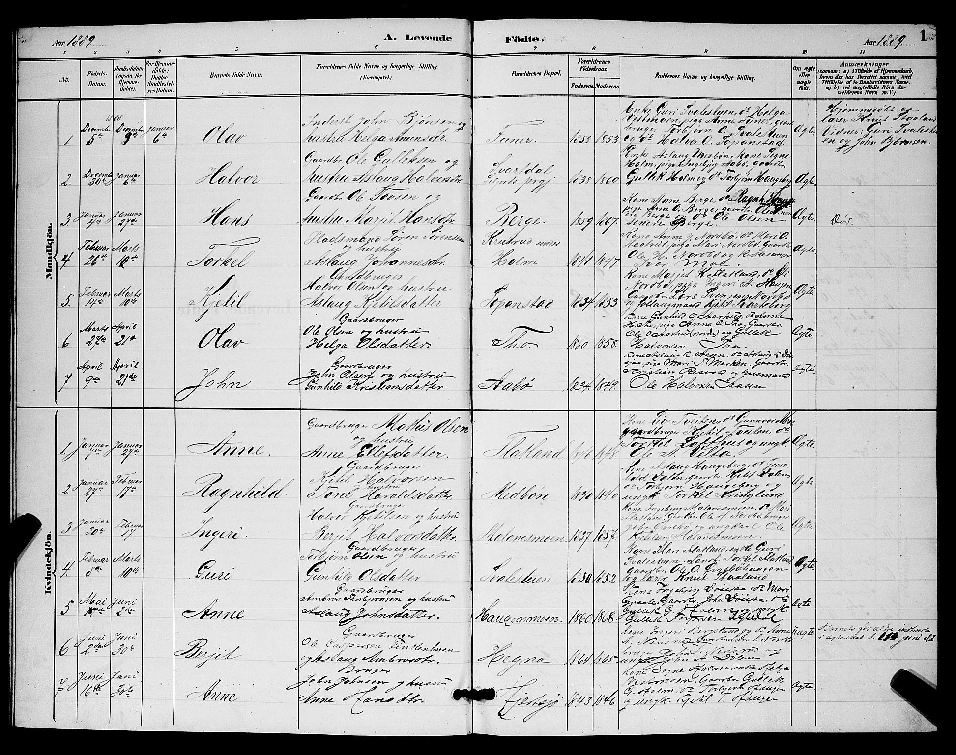 SAKO, Hjartdal kirkebøker, G/Ga/L0003: Klokkerbok nr. I 3, 1889-1896, s. 1