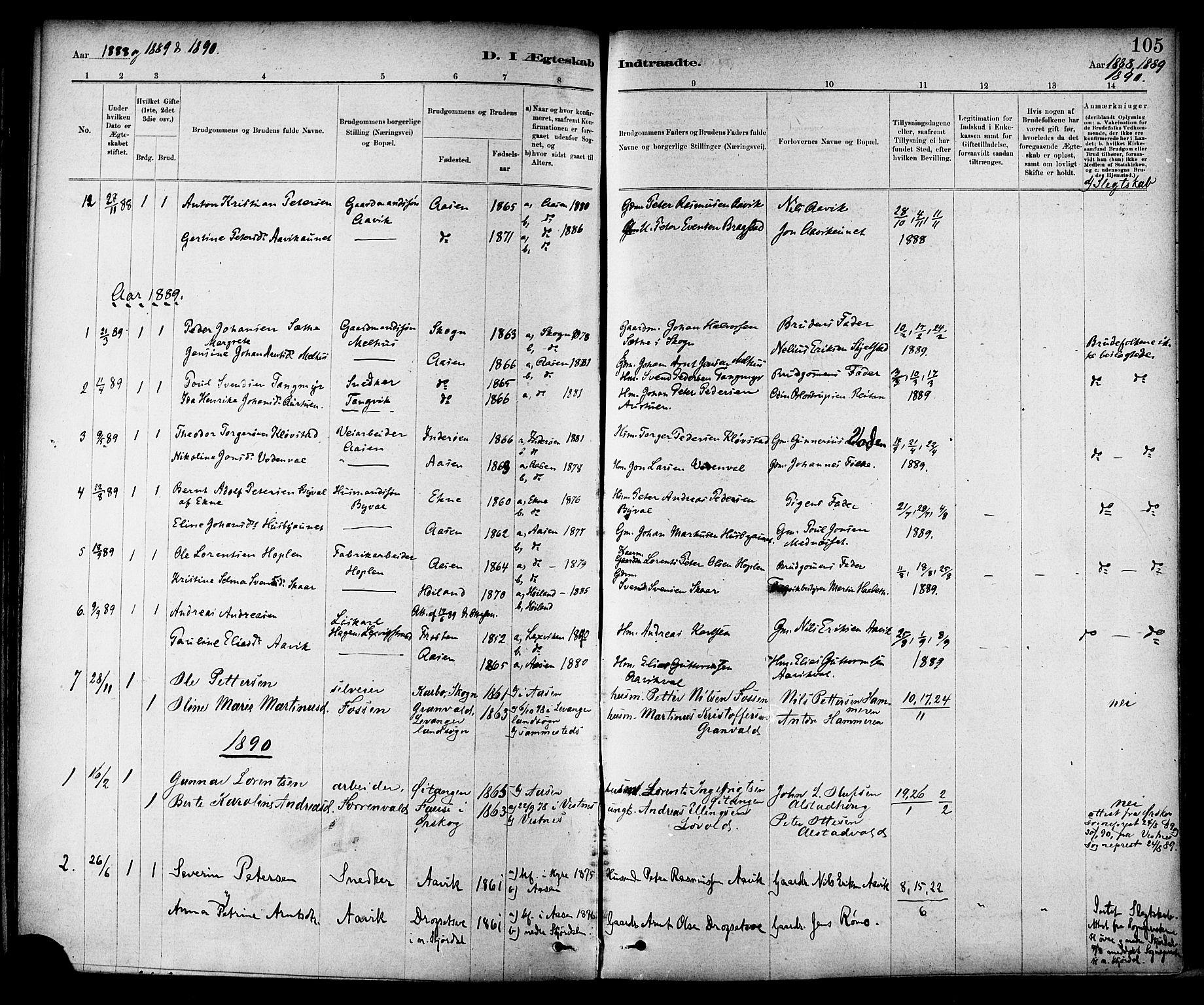 SAT, Ministerialprotokoller, klokkerbøker og fødselsregistre - Nord-Trøndelag, 714/L0130: Ministerialbok nr. 714A01, 1878-1895, s. 105