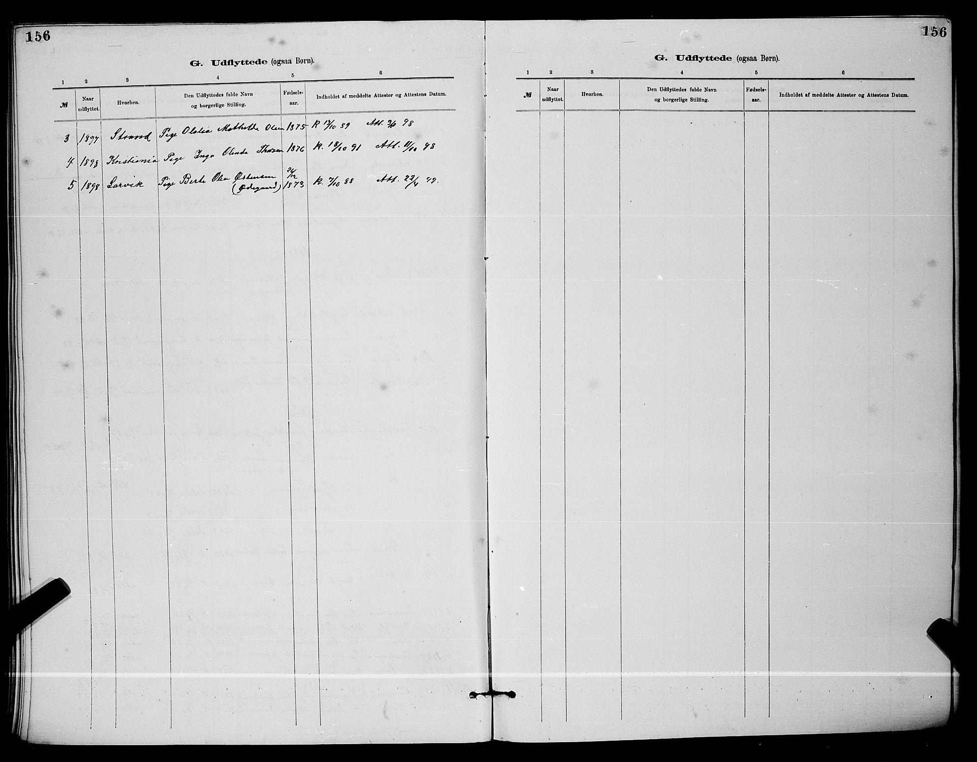 SAKO, Langesund kirkebøker, G/Ga/L0005: Klokkerbok nr. 5, 1884-1898, s. 156