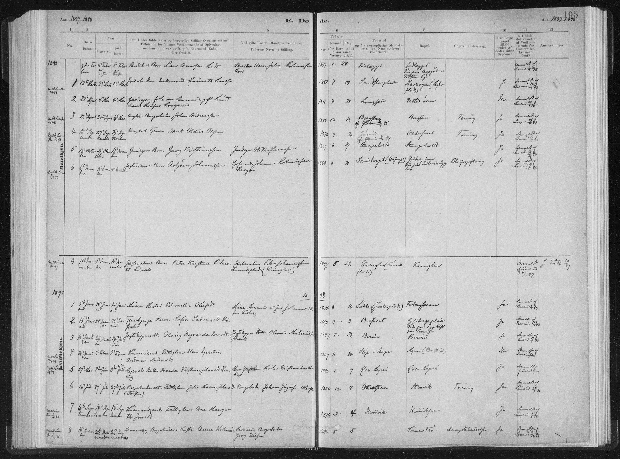 SAT, Ministerialprotokoller, klokkerbøker og fødselsregistre - Nord-Trøndelag, 722/L0220: Ministerialbok nr. 722A07, 1881-1908, s. 195