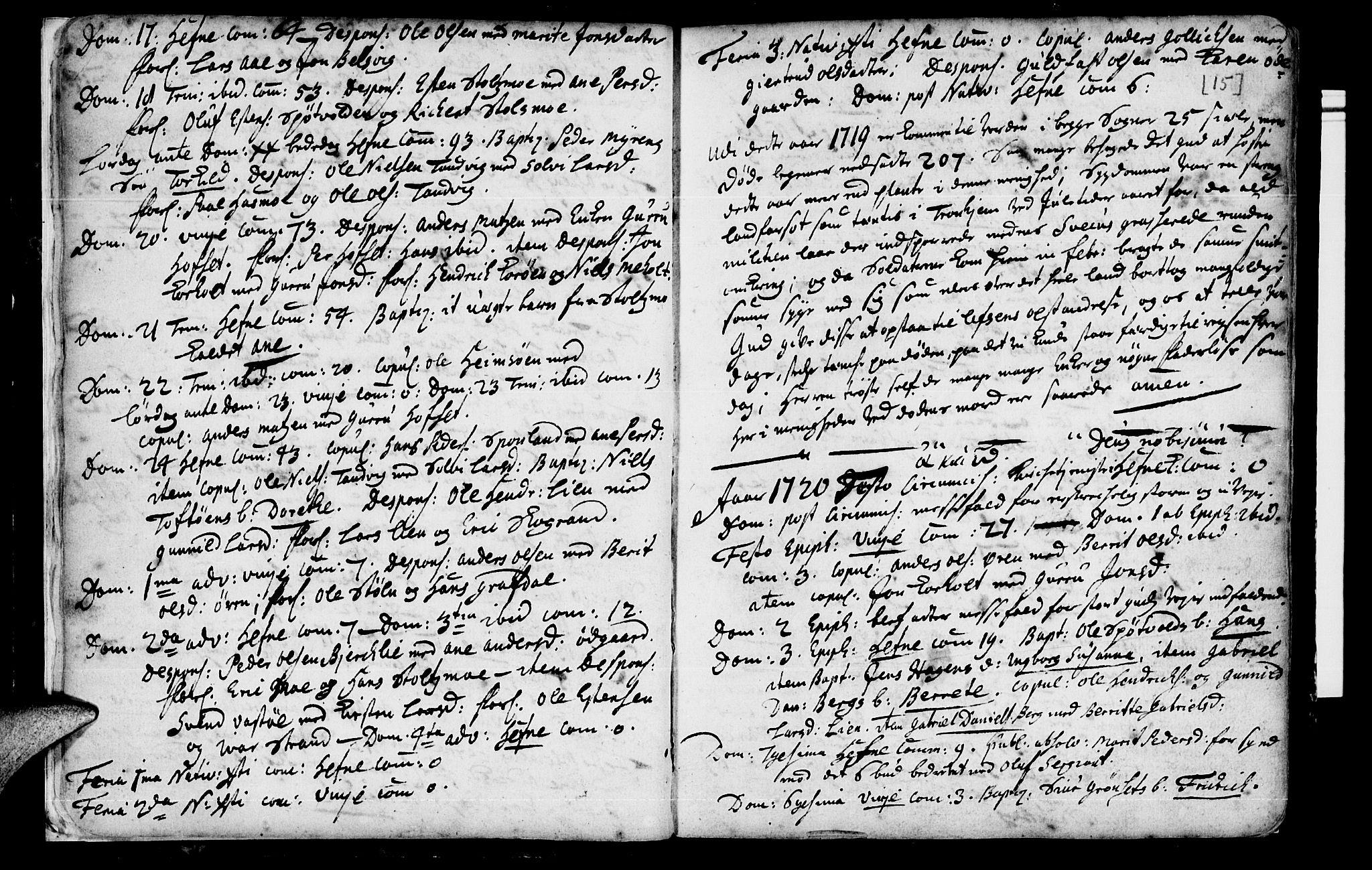 SAT, Ministerialprotokoller, klokkerbøker og fødselsregistre - Sør-Trøndelag, 630/L0488: Ministerialbok nr. 630A01, 1717-1756, s. 14-15