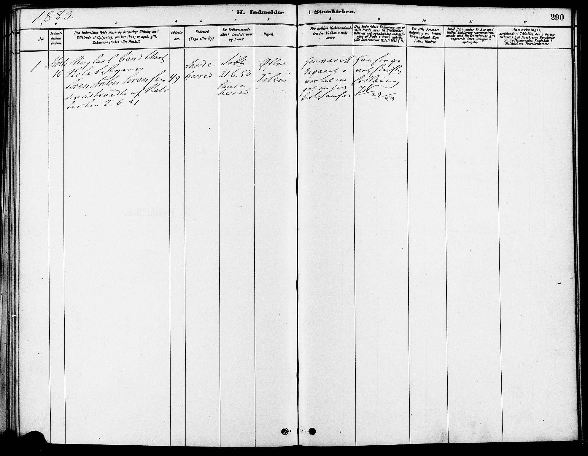 SAO, Gamle Aker prestekontor Kirkebøker, F/L0007: Ministerialbok nr. 7, 1882-1890, s. 290