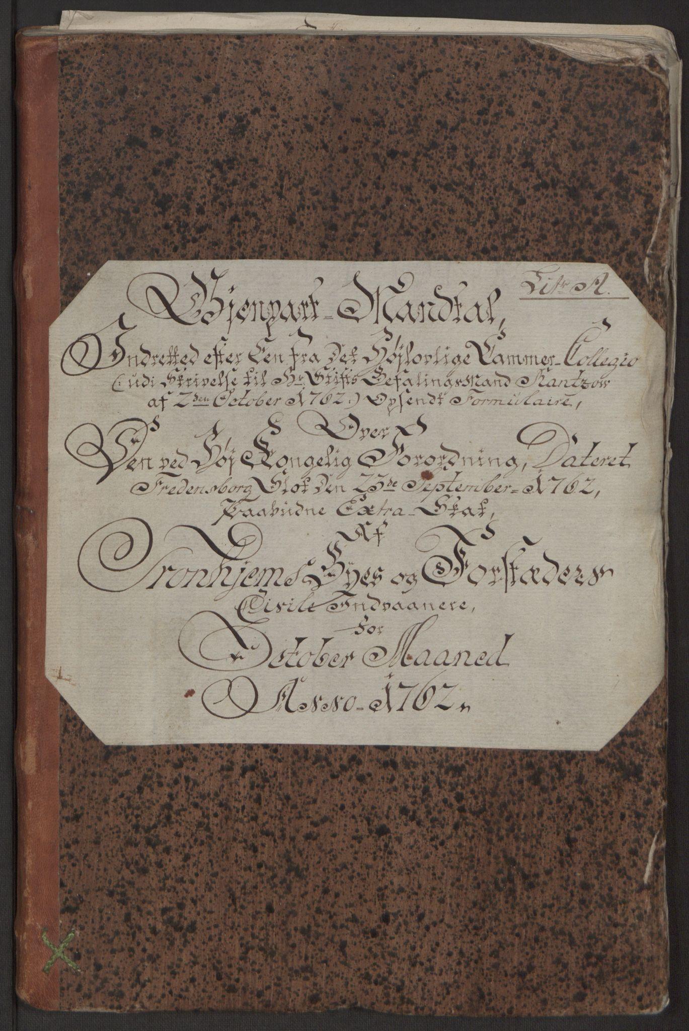 RA, Rentekammeret inntil 1814, Reviderte regnskaper, Byregnskaper, R/Rs/L0516: [S9] Kontribusjonsregnskap, 1762-1767, s. 10