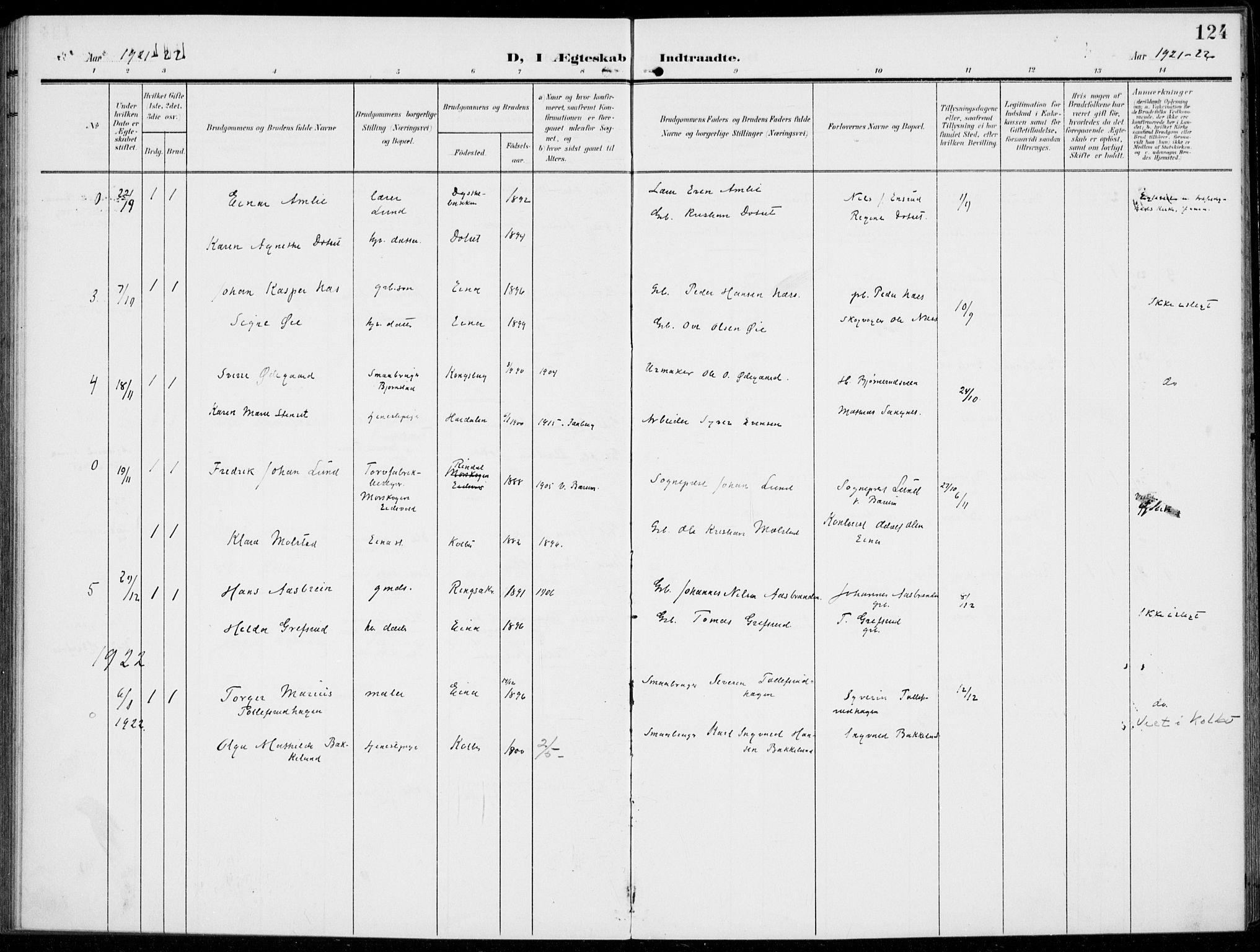 SAH, Kolbu prestekontor, Ministerialbok nr. 1, 1907-1923, s. 124