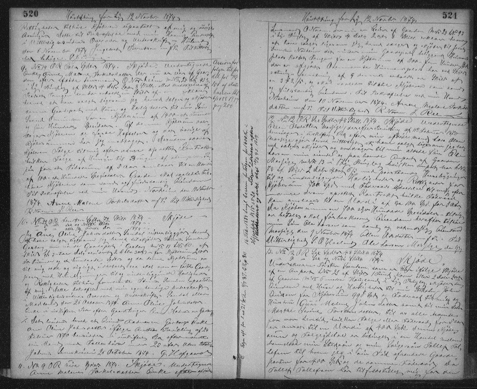 SAST, Jæren sorenskriveri, 4/41/41BF/L0003: Pantebok nr. 11, 1873-1876, s. 520-521
