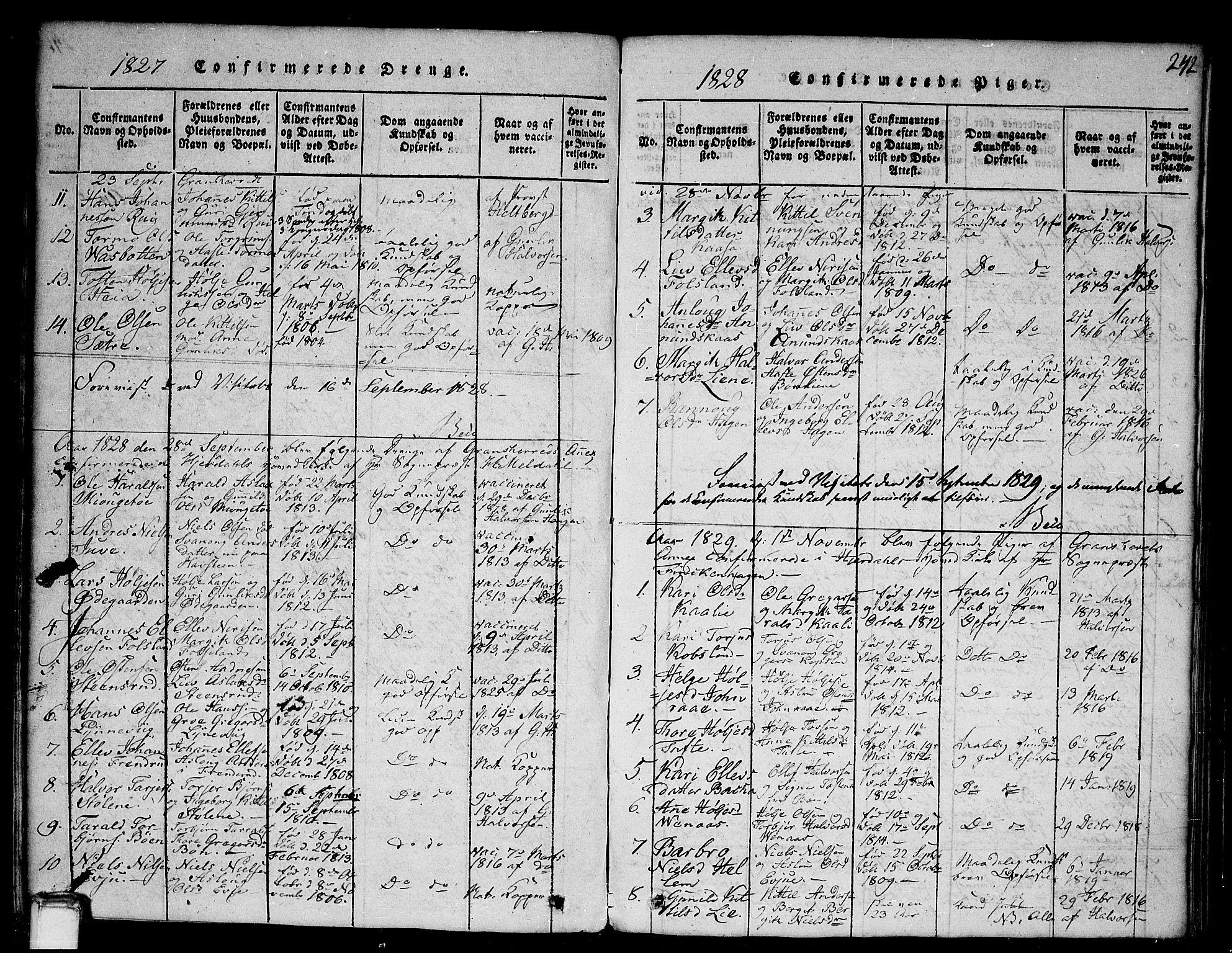 SAKO, Gransherad kirkebøker, G/Ga/L0001: Klokkerbok nr. I 1, 1815-1842, s. 242
