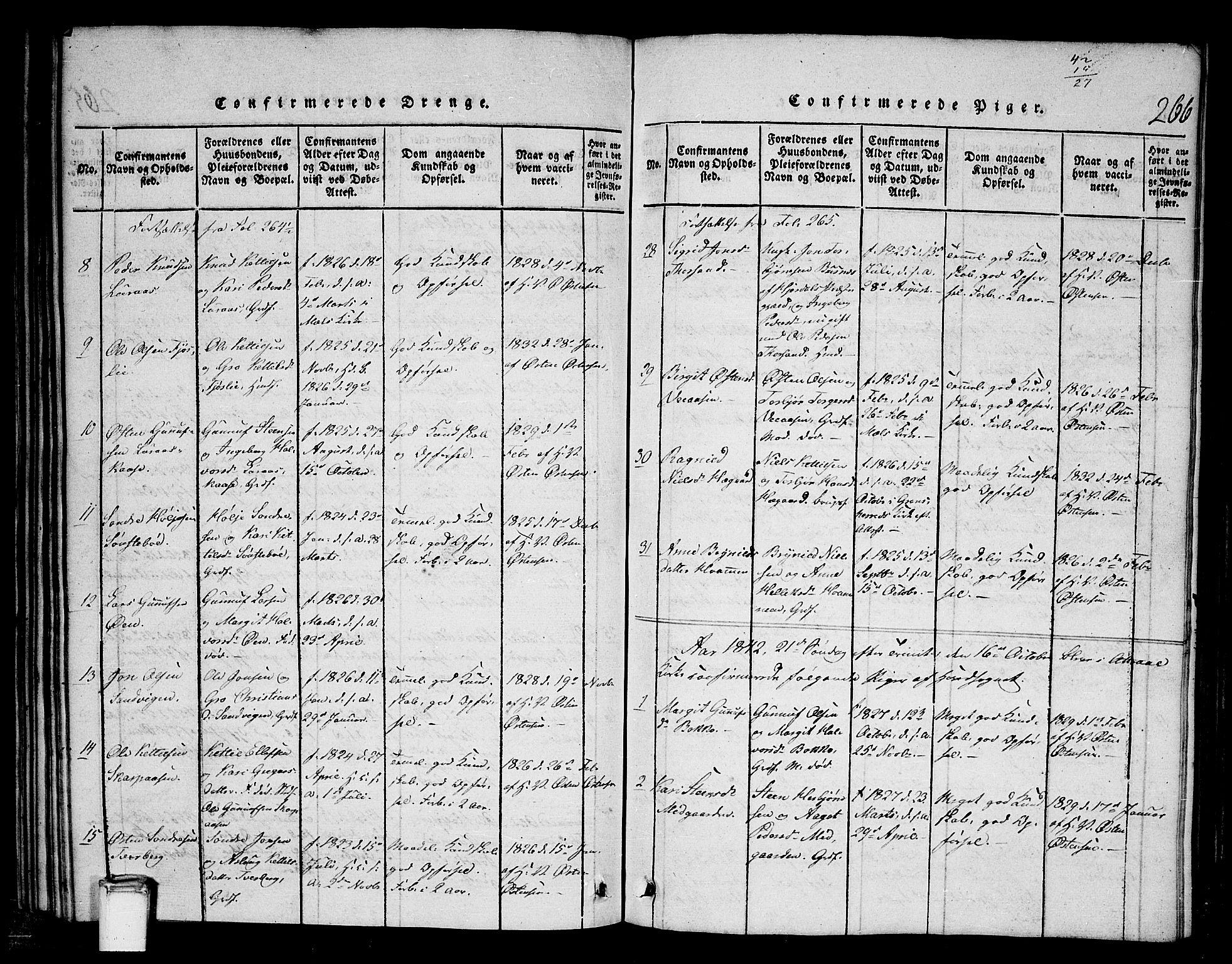 SAKO, Tinn kirkebøker, G/Gb/L0001: Klokkerbok nr. II 1 /2, 1837-1850, s. 267