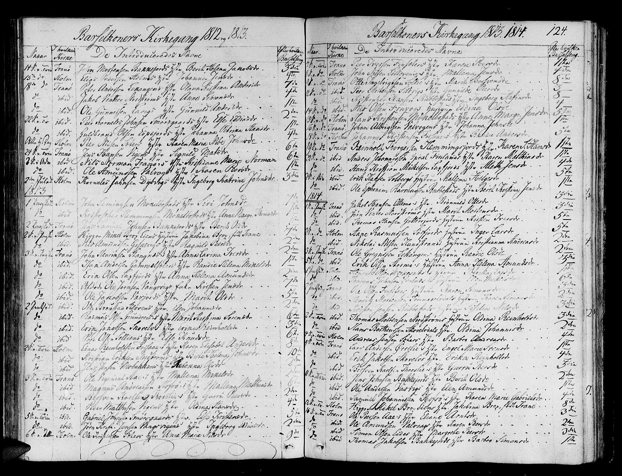 SATØ, Tranøy sokneprestkontor, I/Ia/Iaa/L0003kirke: Ministerialbok nr. 3, 1807-1820, s. 124