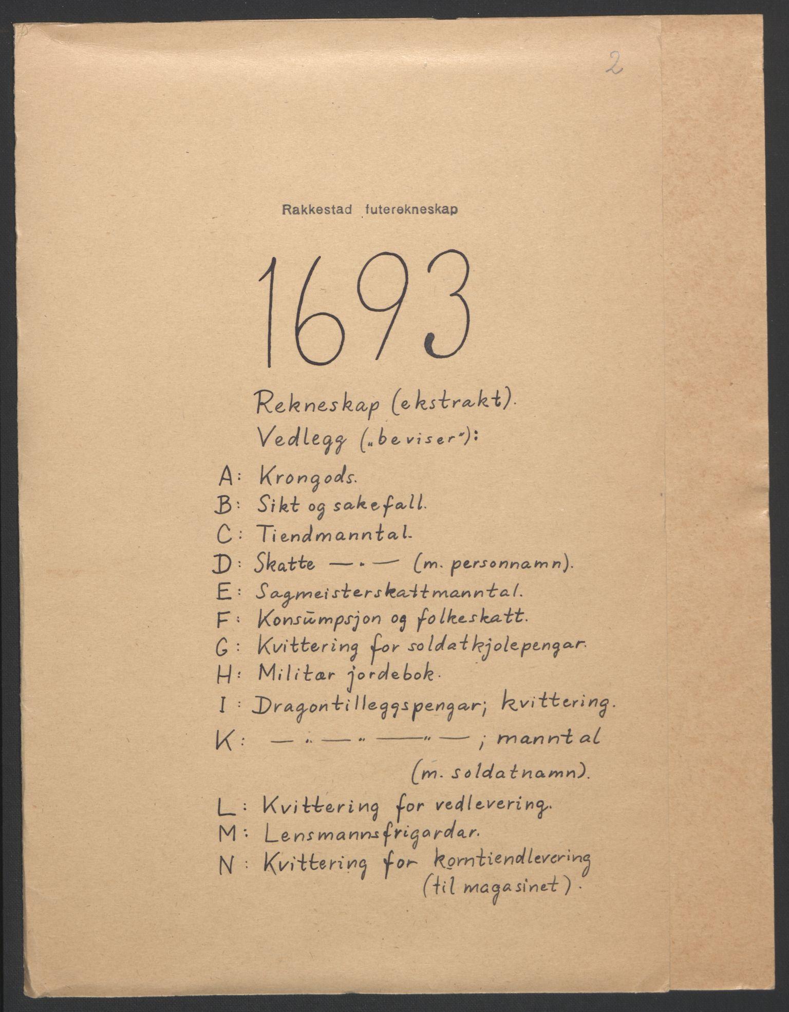 RA, Rentekammeret inntil 1814, Reviderte regnskaper, Fogderegnskap, R05/L0278: Fogderegnskap Rakkestad, 1691-1693, s. 344