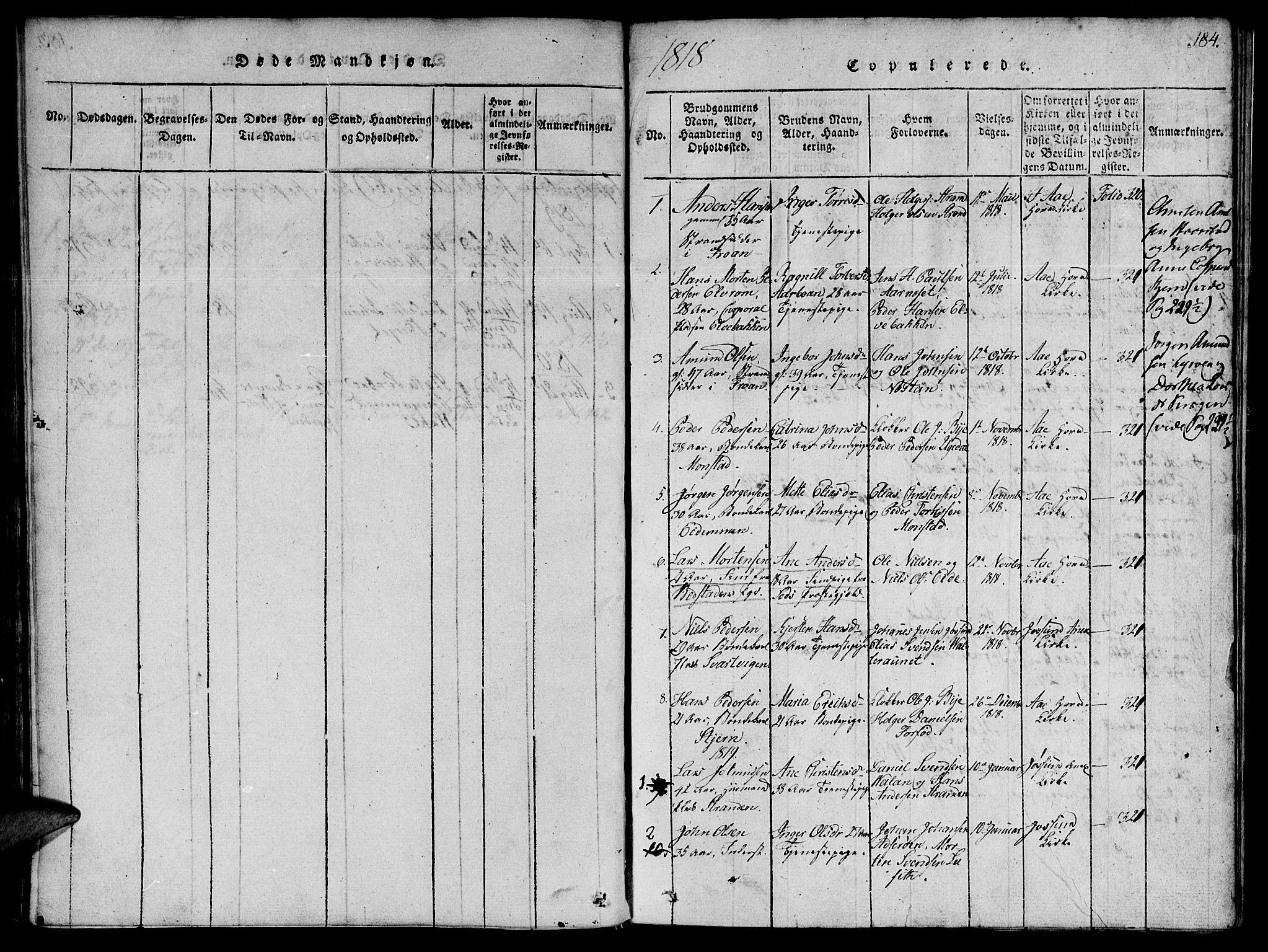 SAT, Ministerialprotokoller, klokkerbøker og fødselsregistre - Sør-Trøndelag, 655/L0675: Ministerialbok nr. 655A04, 1818-1830, s. 184