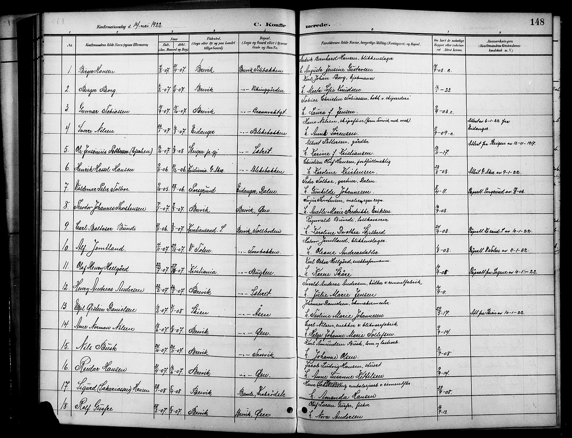 SAKO, Brevik kirkebøker, G/Ga/L0005: Klokkerbok nr. 5, 1901-1924, s. 148