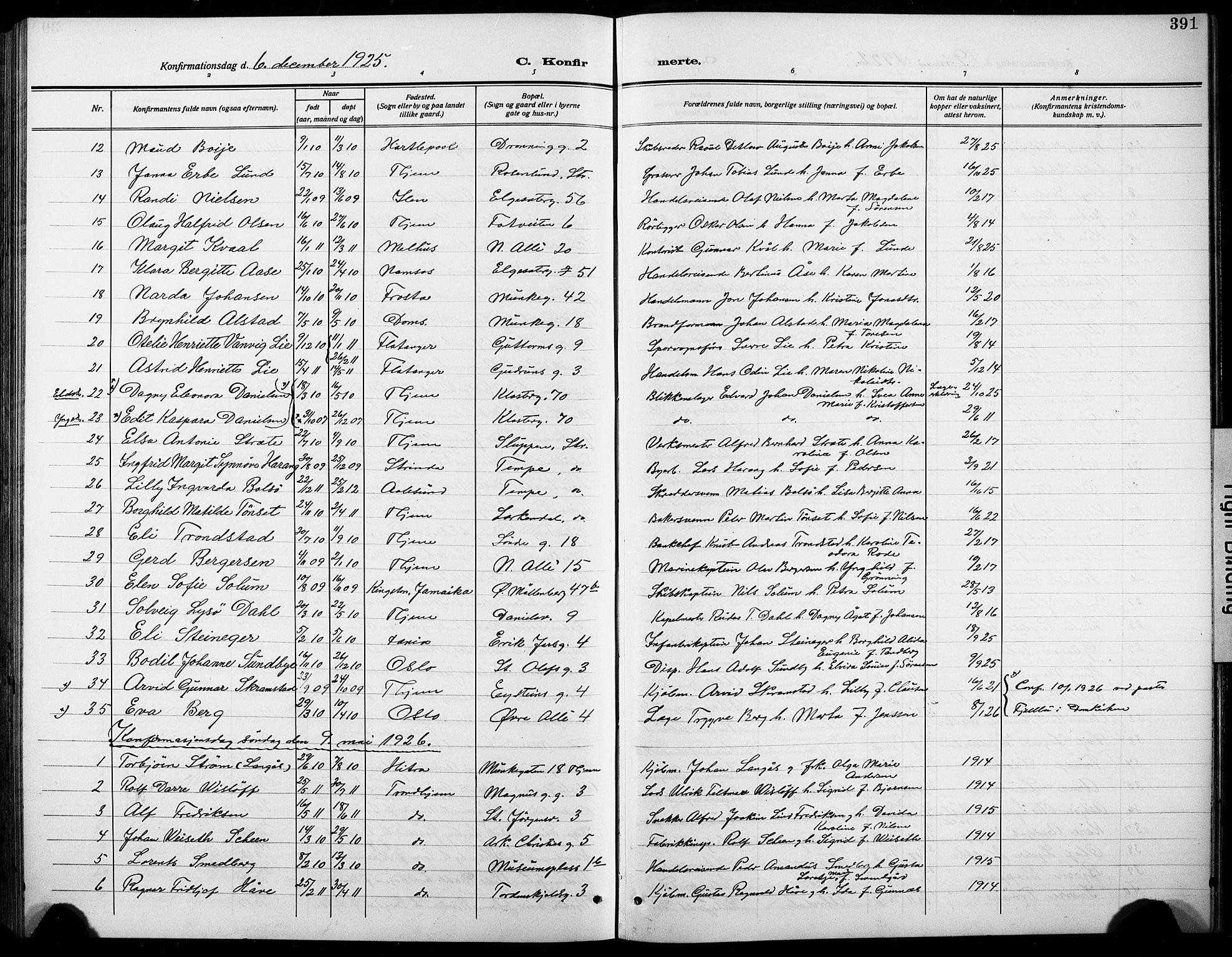 SAT, Ministerialprotokoller, klokkerbøker og fødselsregistre - Sør-Trøndelag, 601/L0096: Klokkerbok nr. 601C14, 1911-1931, s. 391