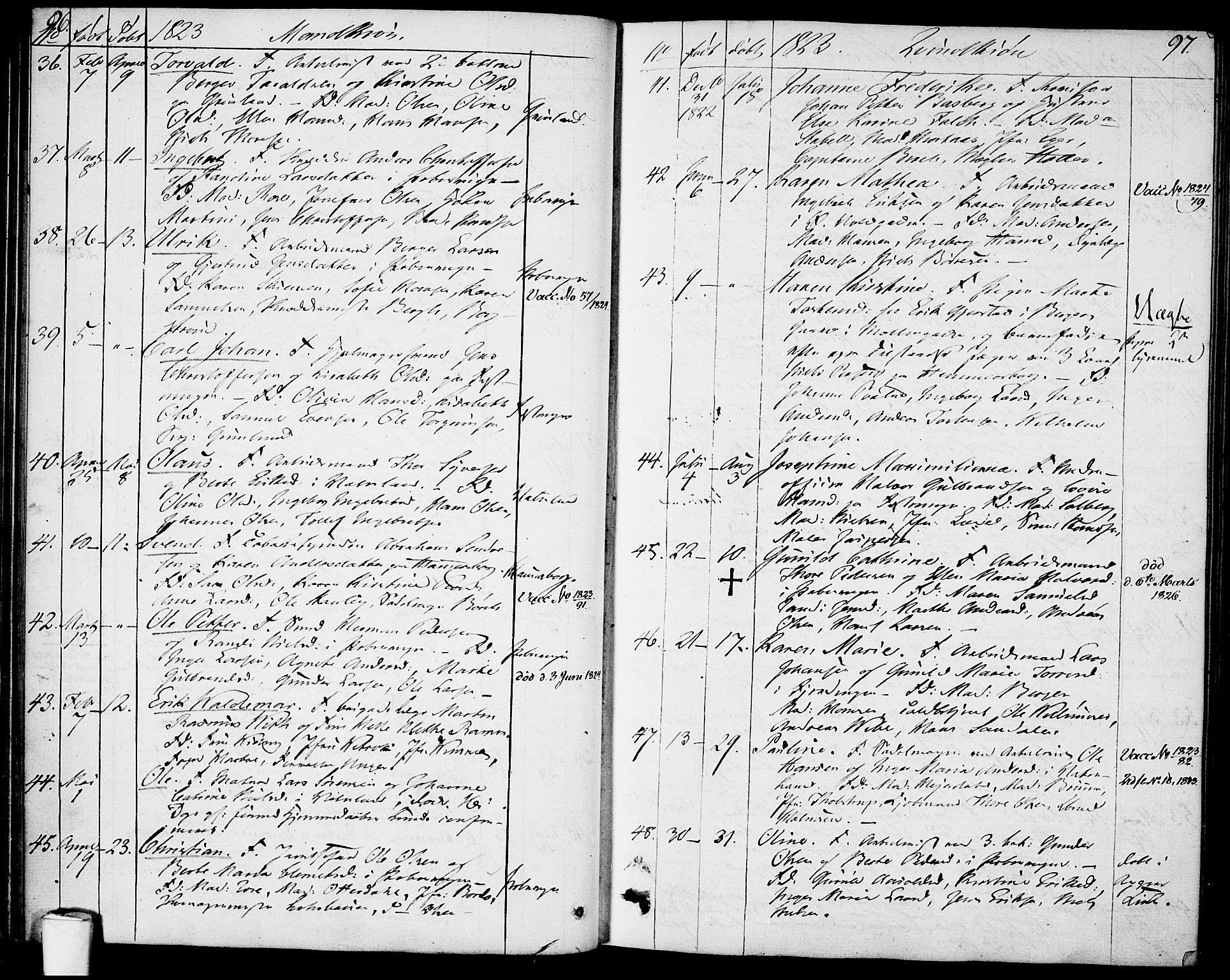 SAO, Garnisonsmenigheten Kirkebøker, F/Fa/L0004: Ministerialbok nr. 4, 1820-1828, s. 96-97
