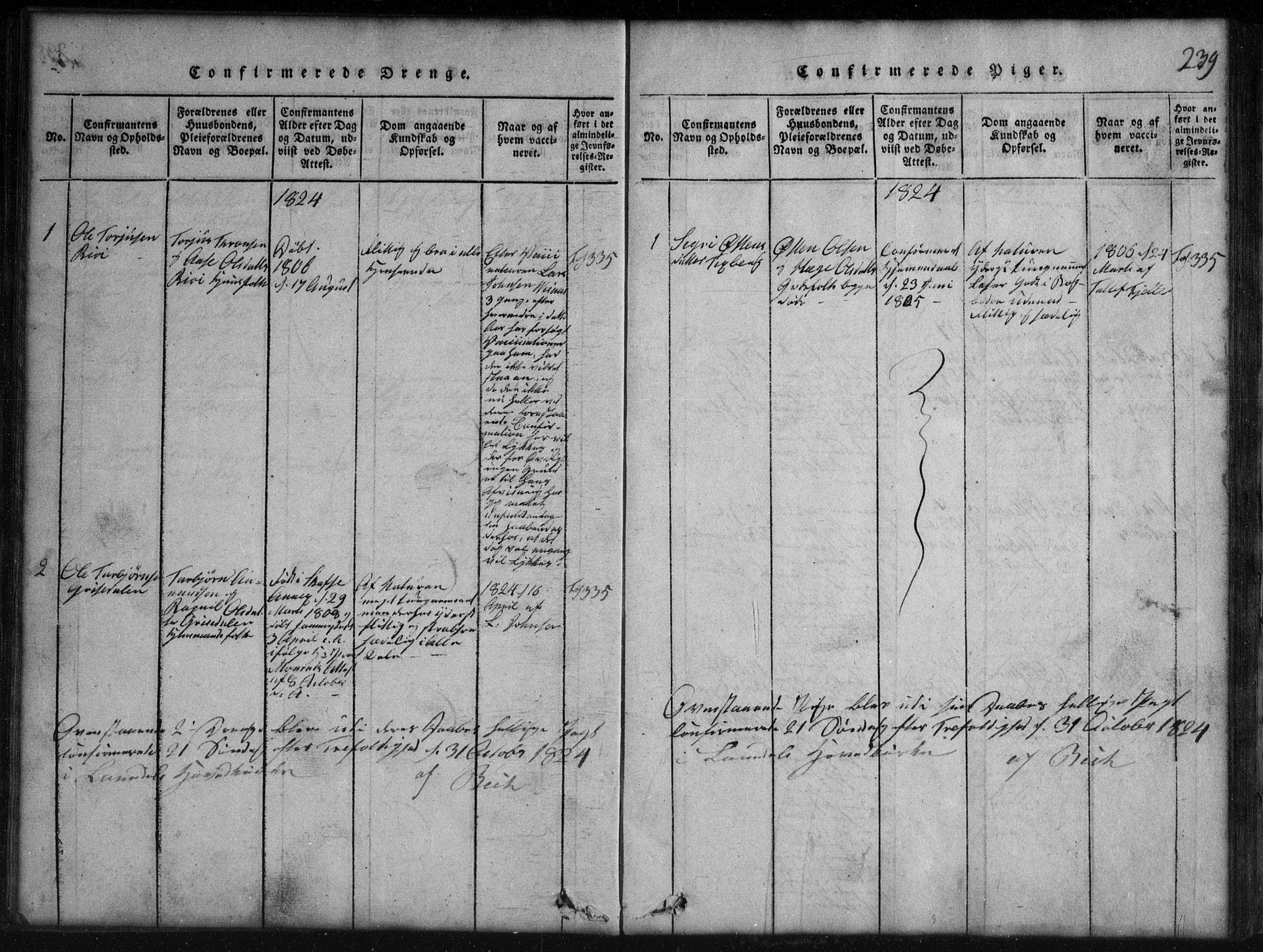 SAKO, Rauland kirkebøker, G/Gb/L0001: Klokkerbok nr. II 1, 1815-1886, s. 239